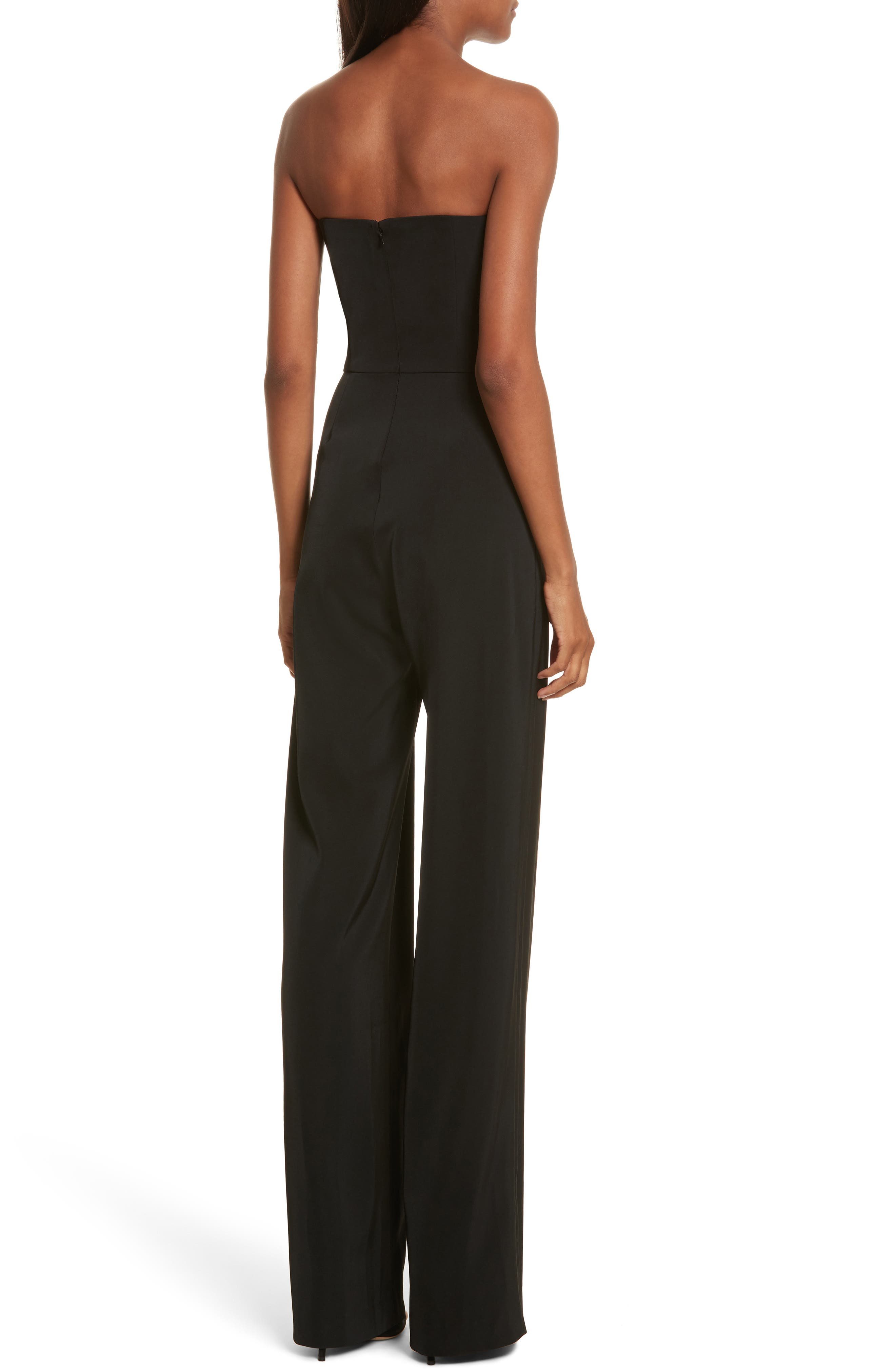 Faux Feather Trim Satin Backed Crepe Strapless Jumpsuit,                             Alternate thumbnail 2, color,                             Black Feather