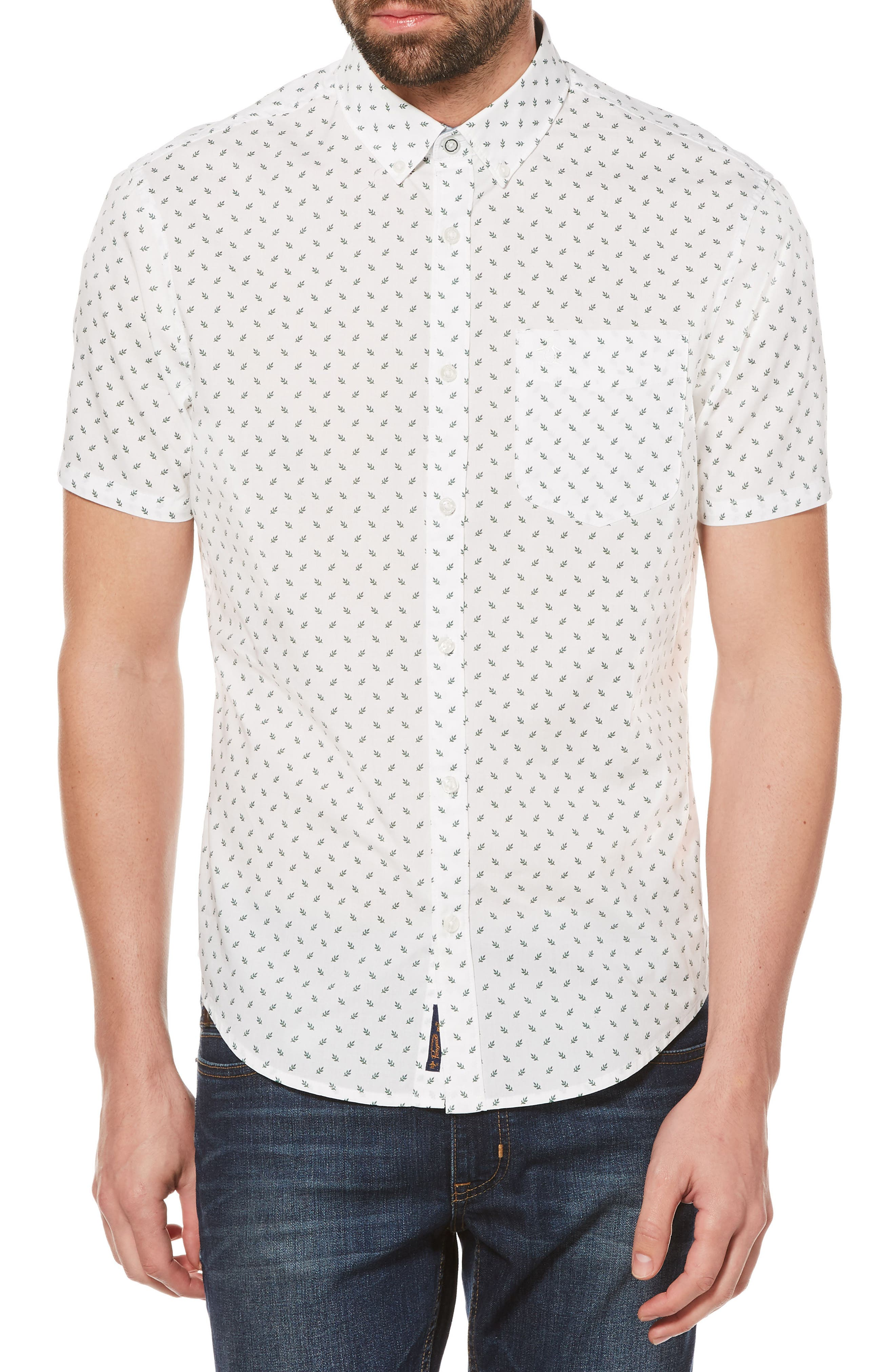 Leaf Print Woven Shirt,                             Main thumbnail 1, color,                             Bright White
