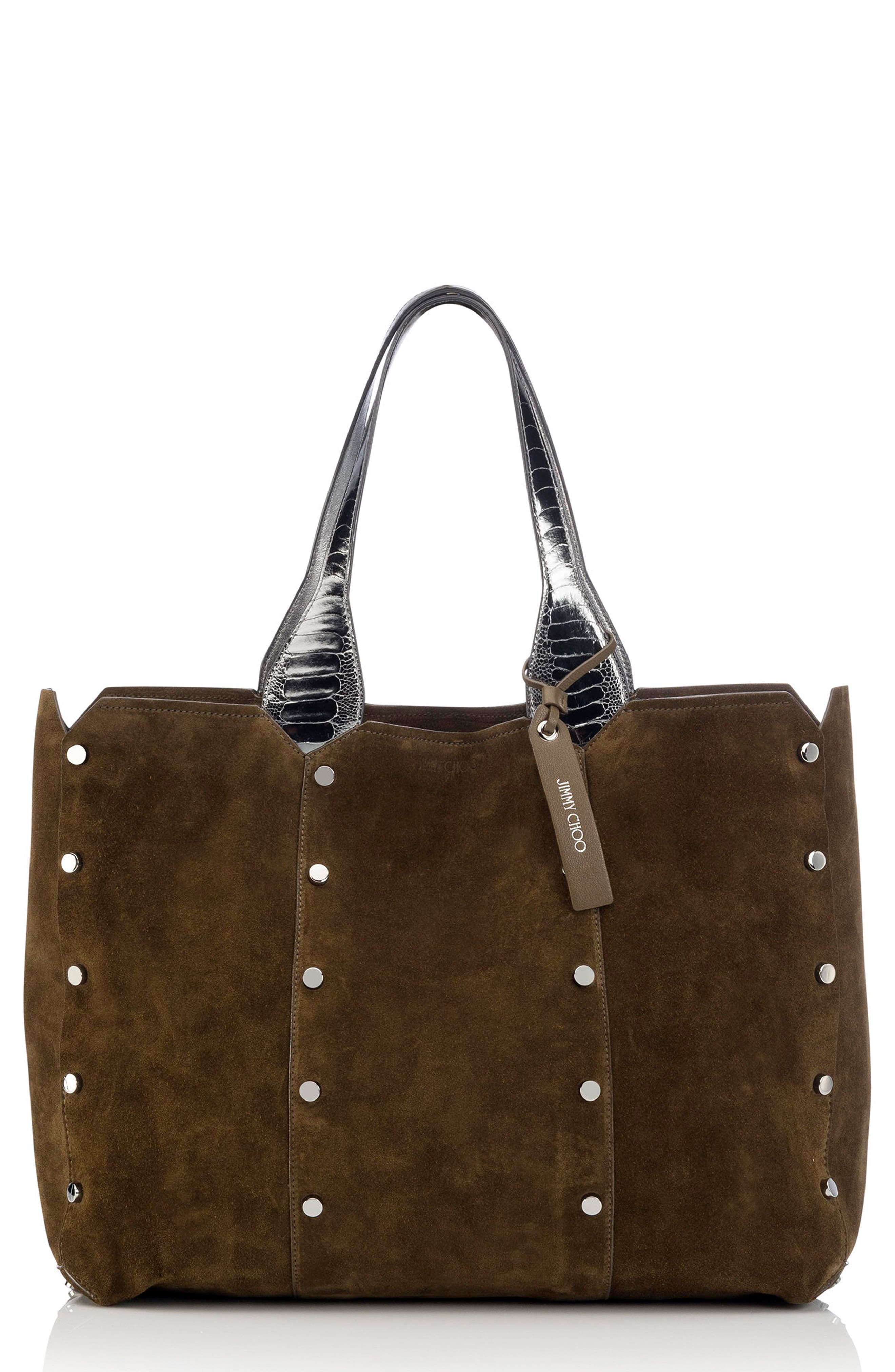 Lockett Suede & Metallic Leather Shopper,                             Main thumbnail 1, color,                             Olive/ Steel
