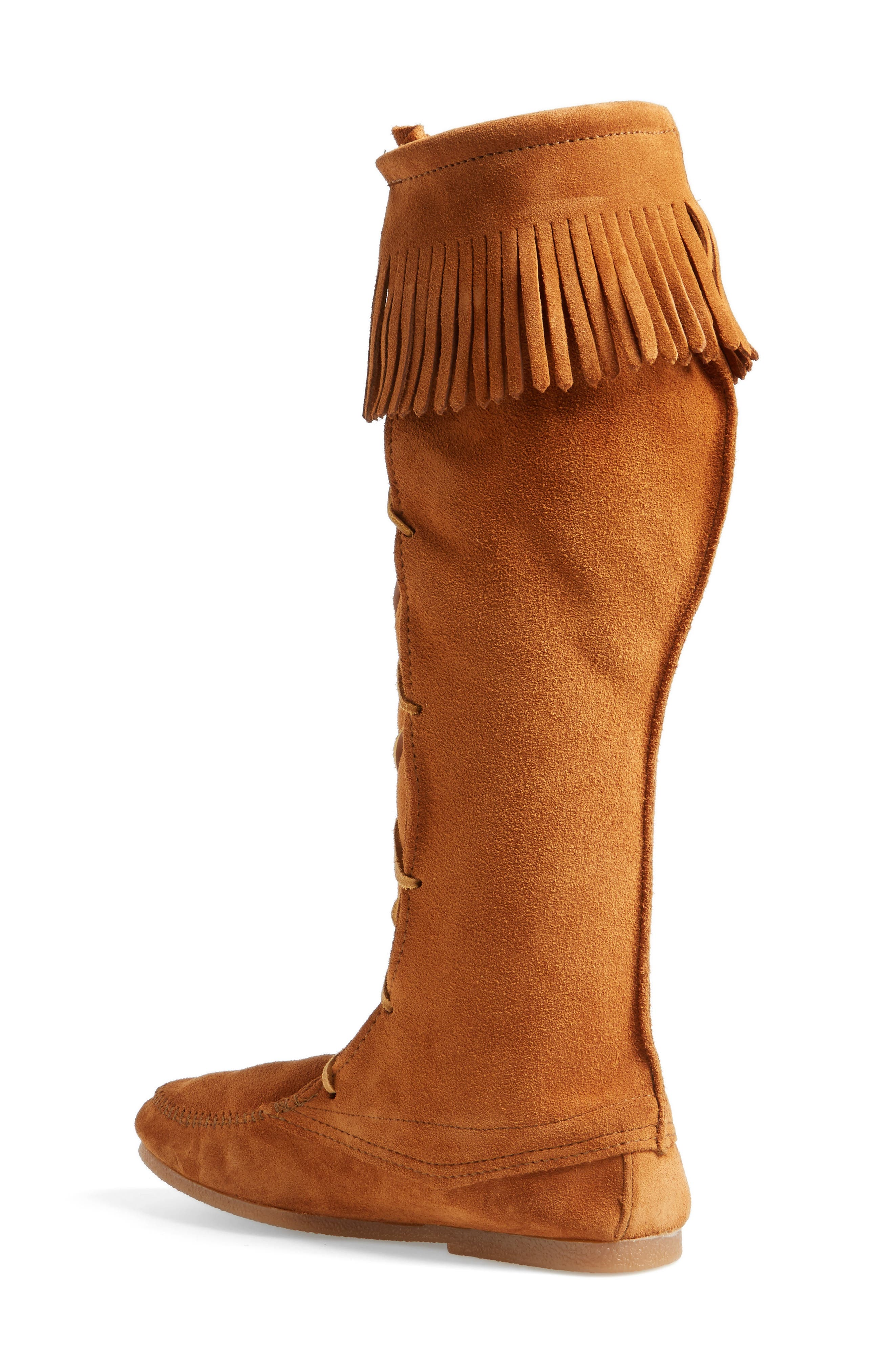 Knee High Moccasin Boot,                             Alternate thumbnail 2, color,                             Brown Suede