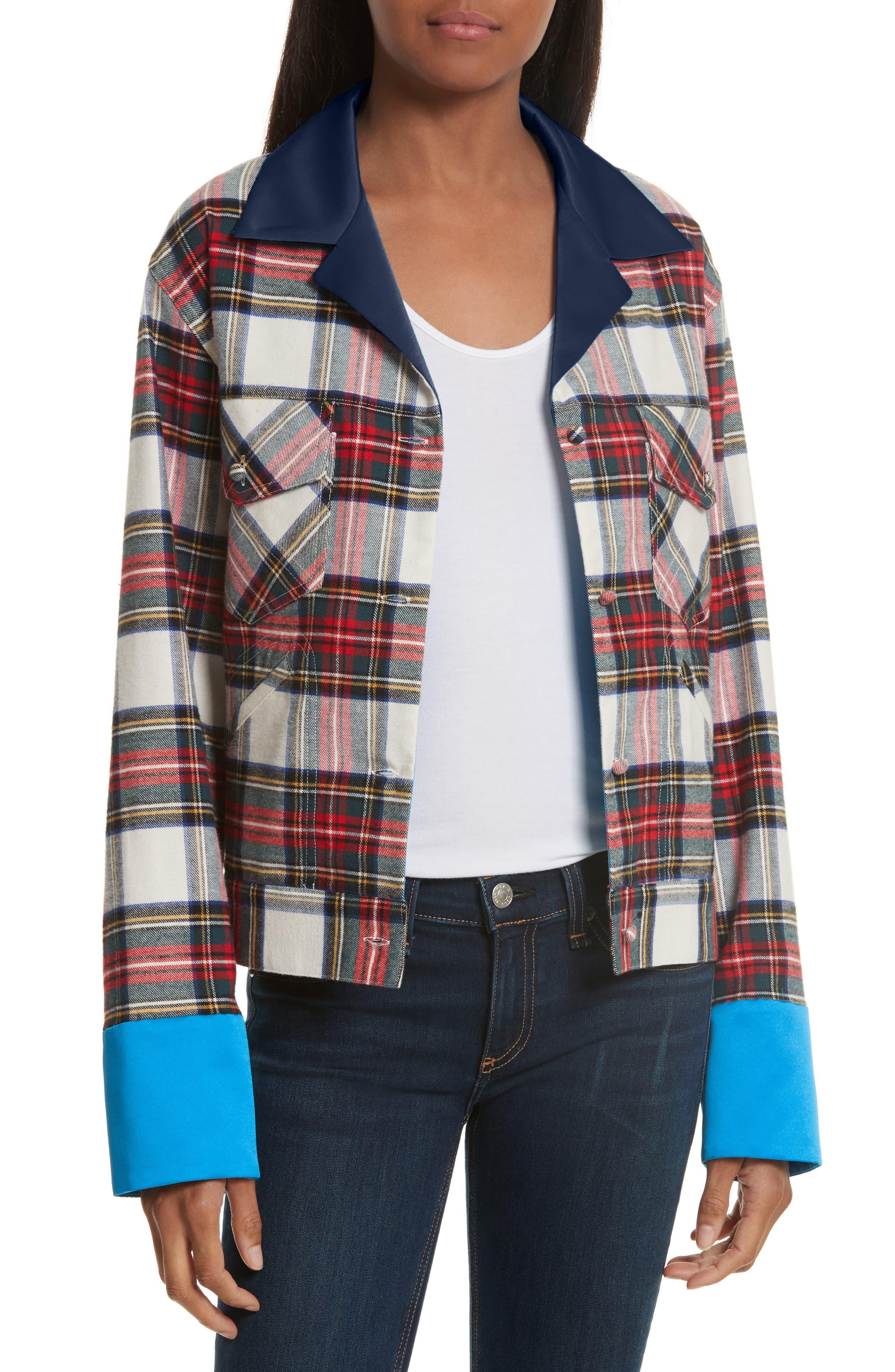Harvey Faircloth Navy Satin Collar Plaid Flannel Jacket