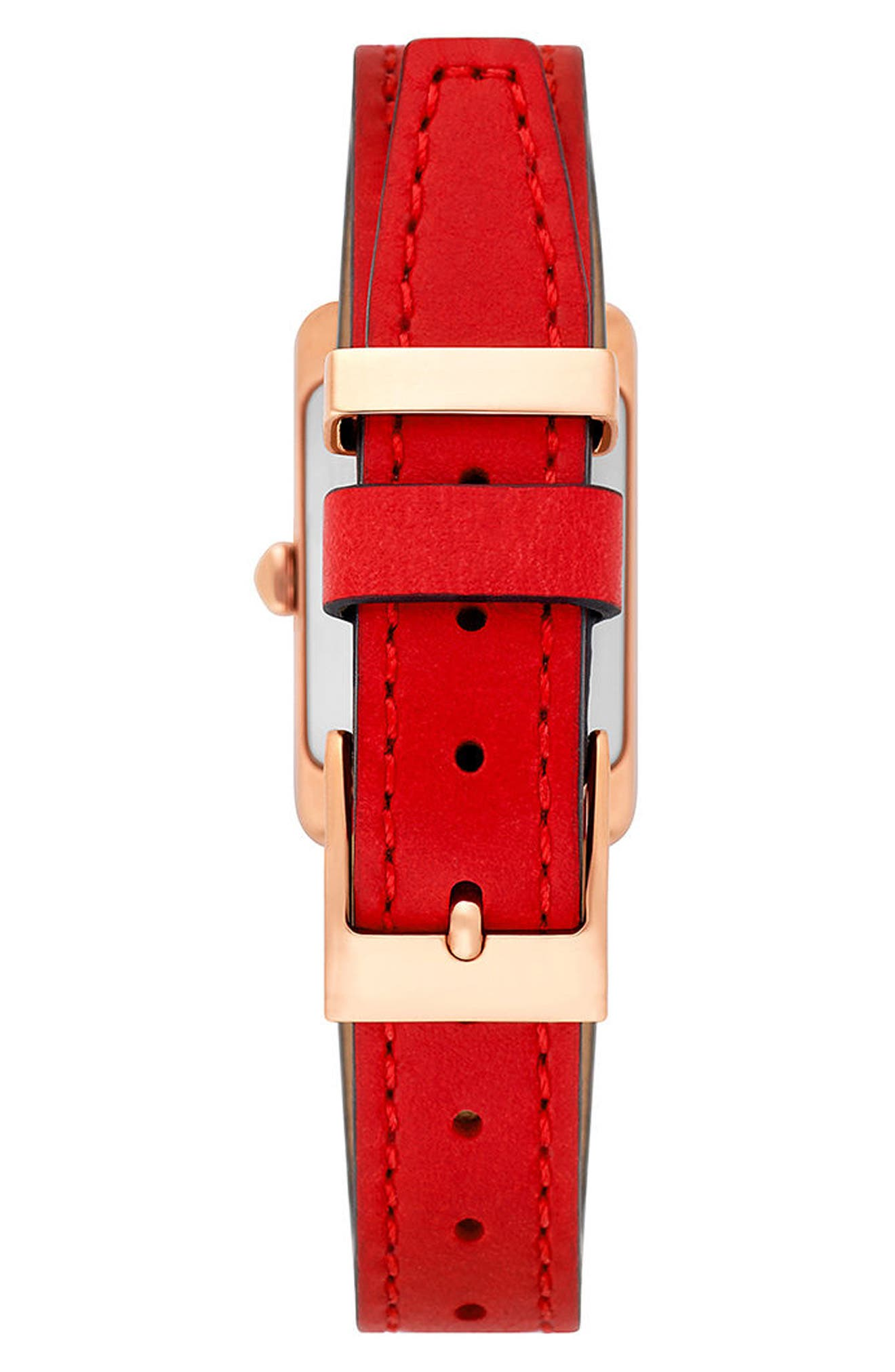 Moment Leather Strap Watch, 19mm x 30mm,                             Alternate thumbnail 3, color,                             Red/ Rose Gold
