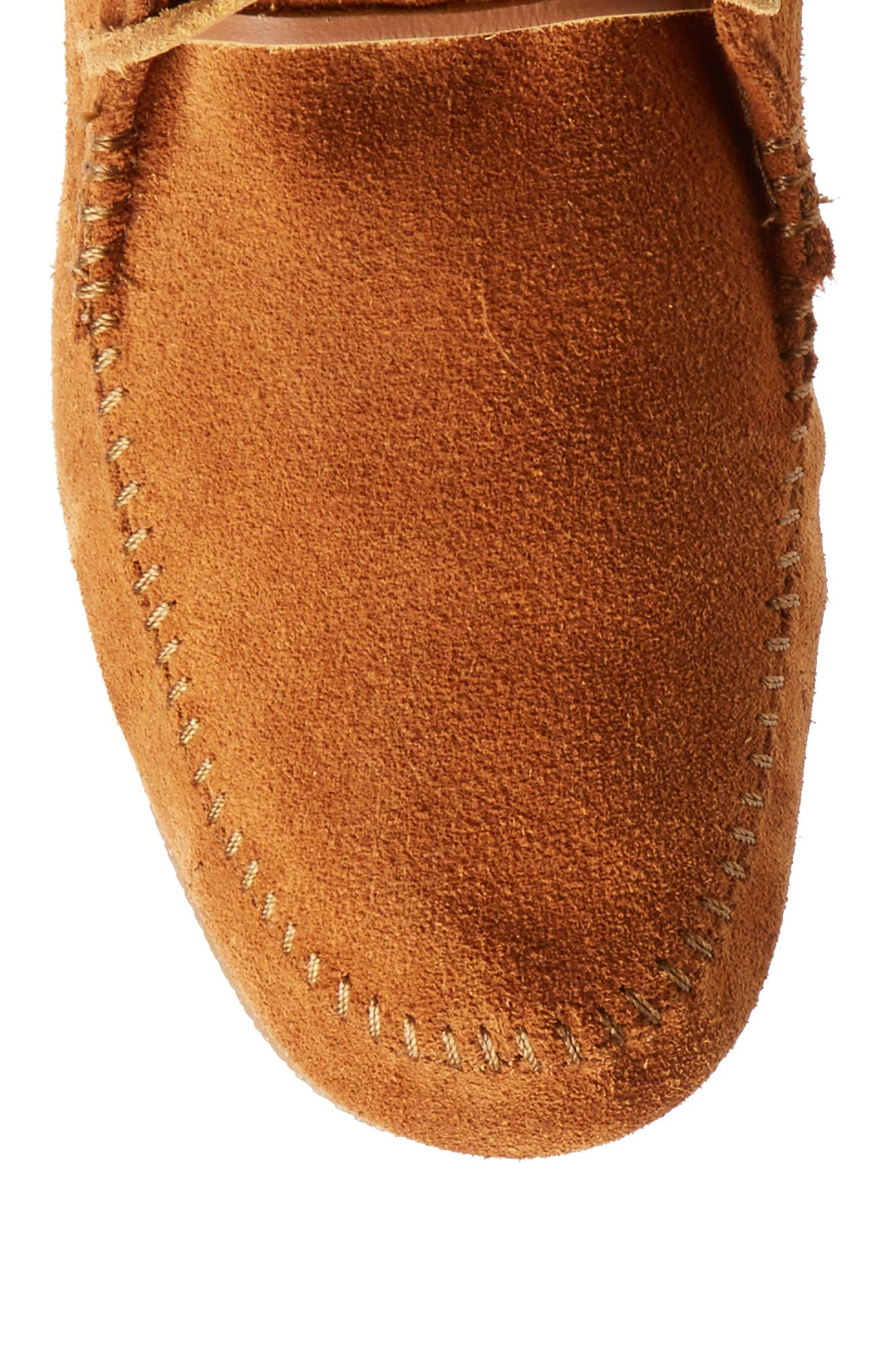 Knee High Moccasin Boot,                             Alternate thumbnail 5, color,                             Brown Suede