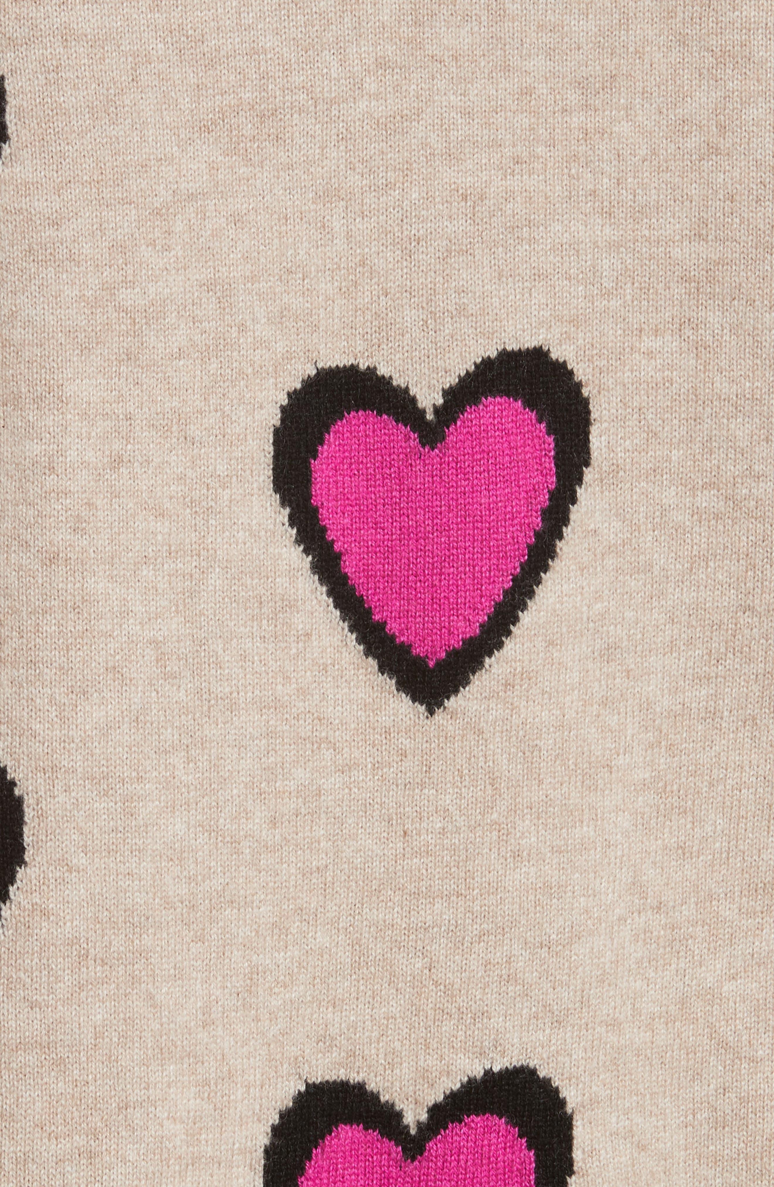 CHINTI & PARKER Heart Burst Cashmere Sweater,                             Alternate thumbnail 5, color,                             Oatmeal/ Black/ Fuchsia