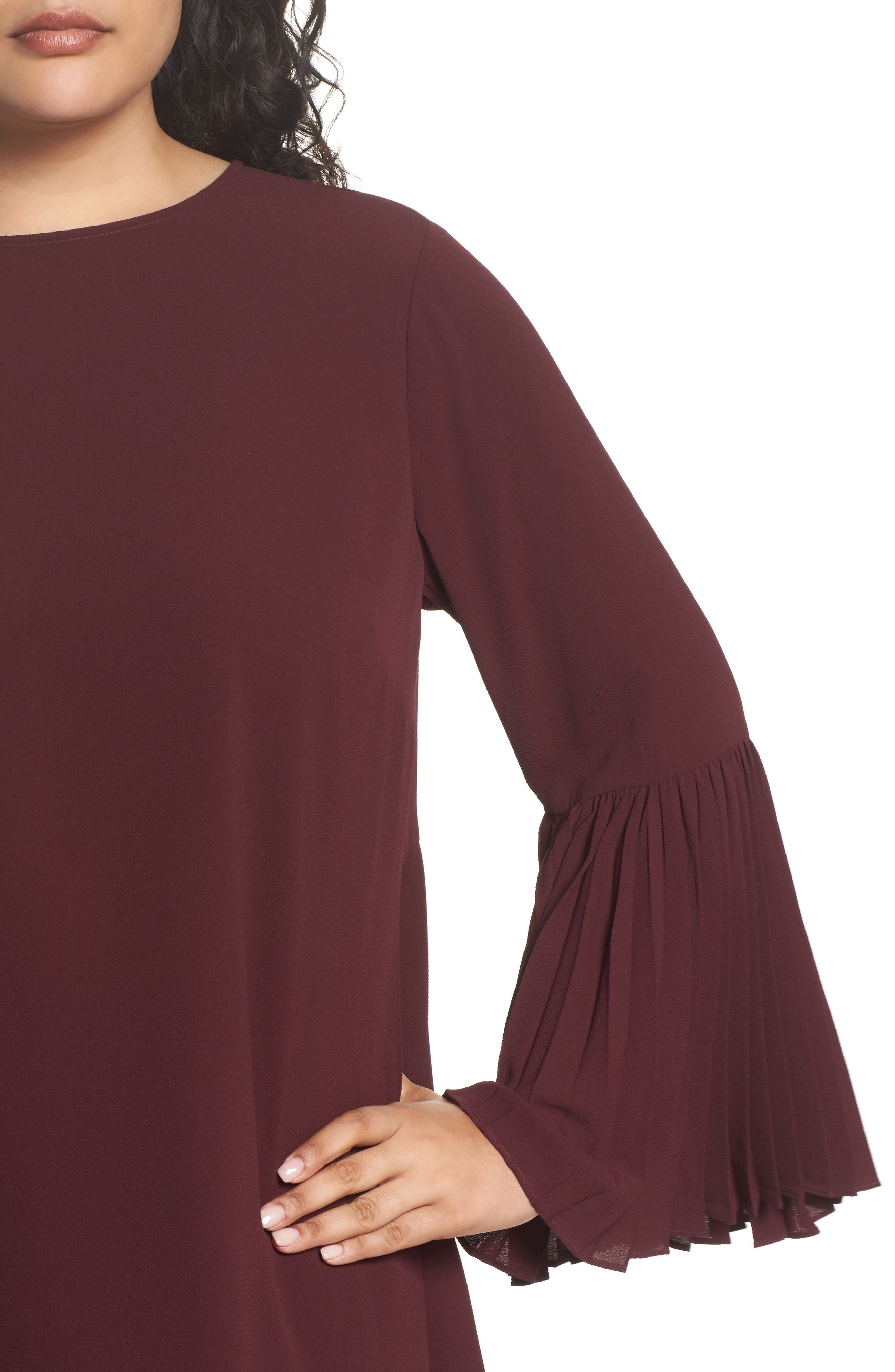 Pleated Bell Sleeve High/Low Shirt,                             Alternate thumbnail 4, color,                             Deep Claret