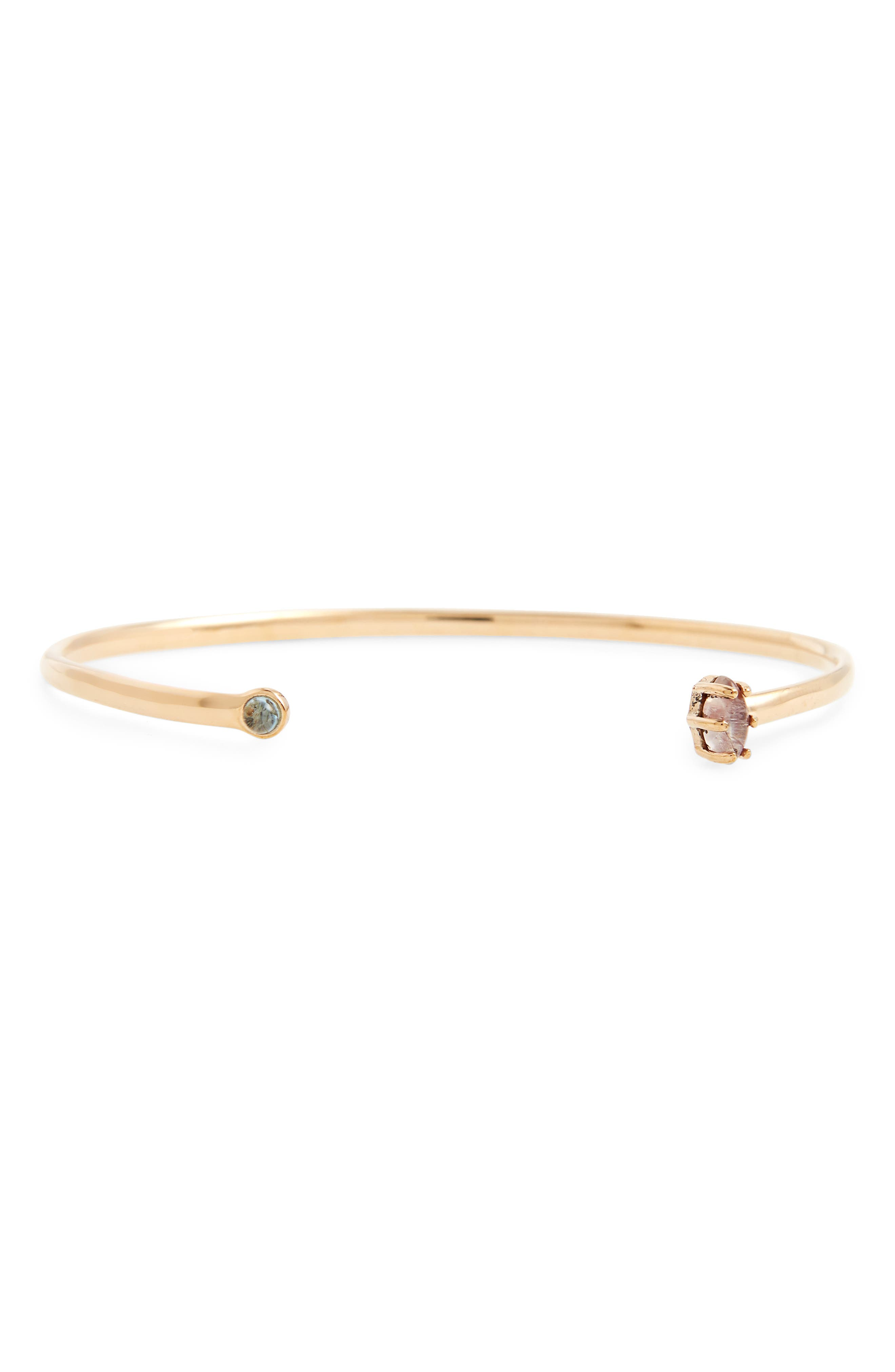 Madewell Mix Stone Open Bronze Cuff Bracelet