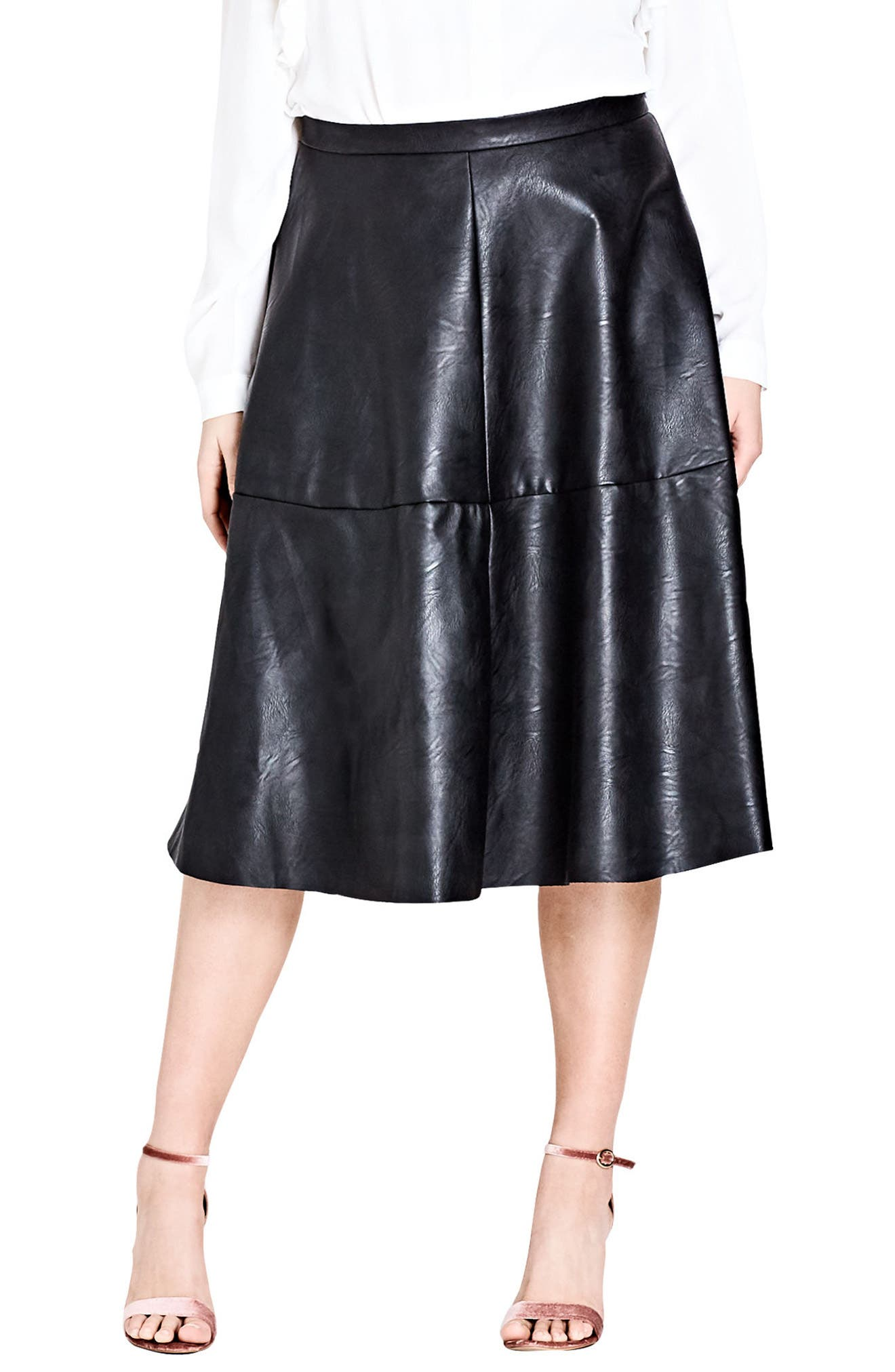 Faux Leather Skirt,                         Main,                         color, Black