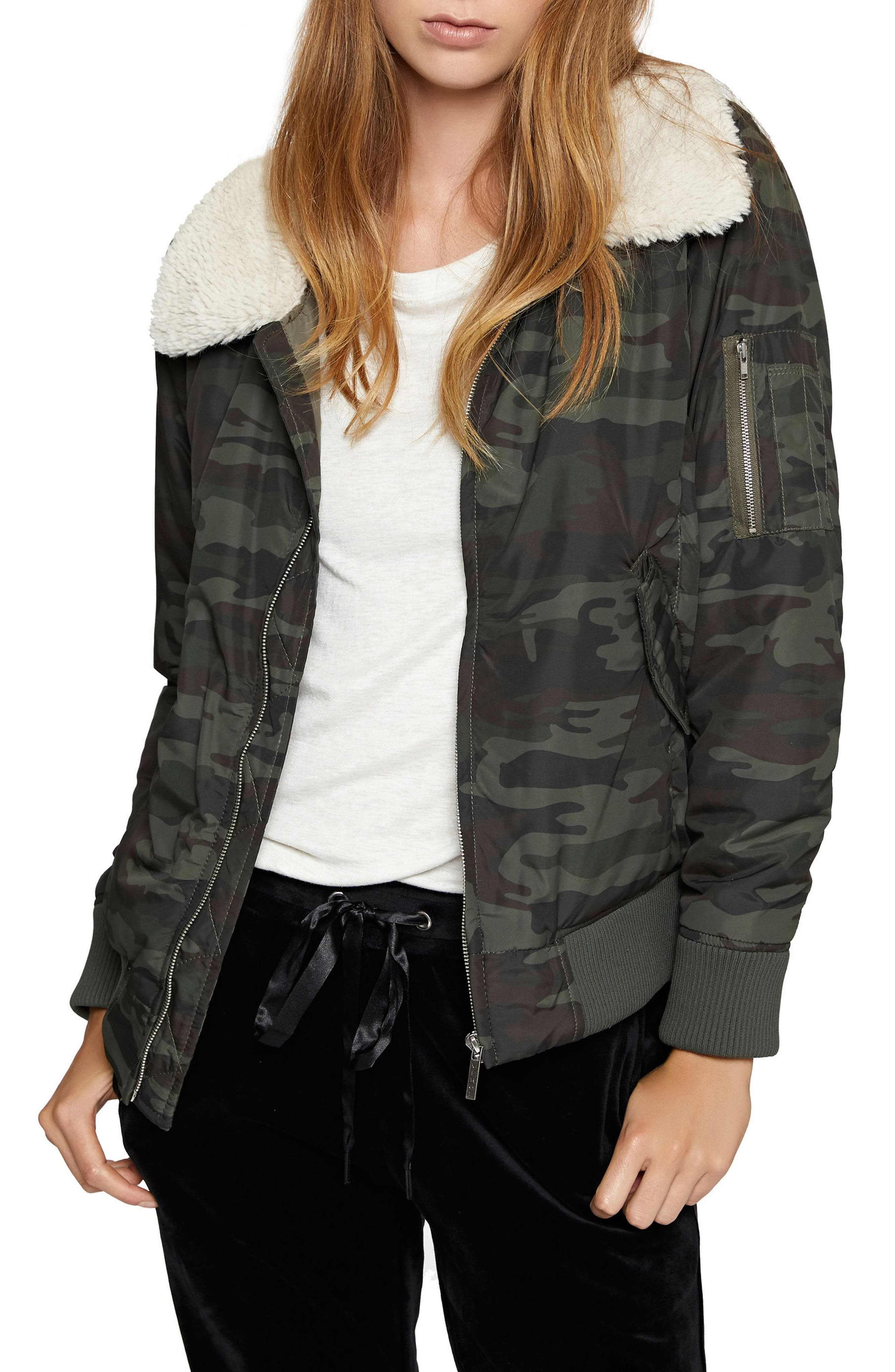 Sanctuary Faux Shearling Collar Camo Bomber Jacket