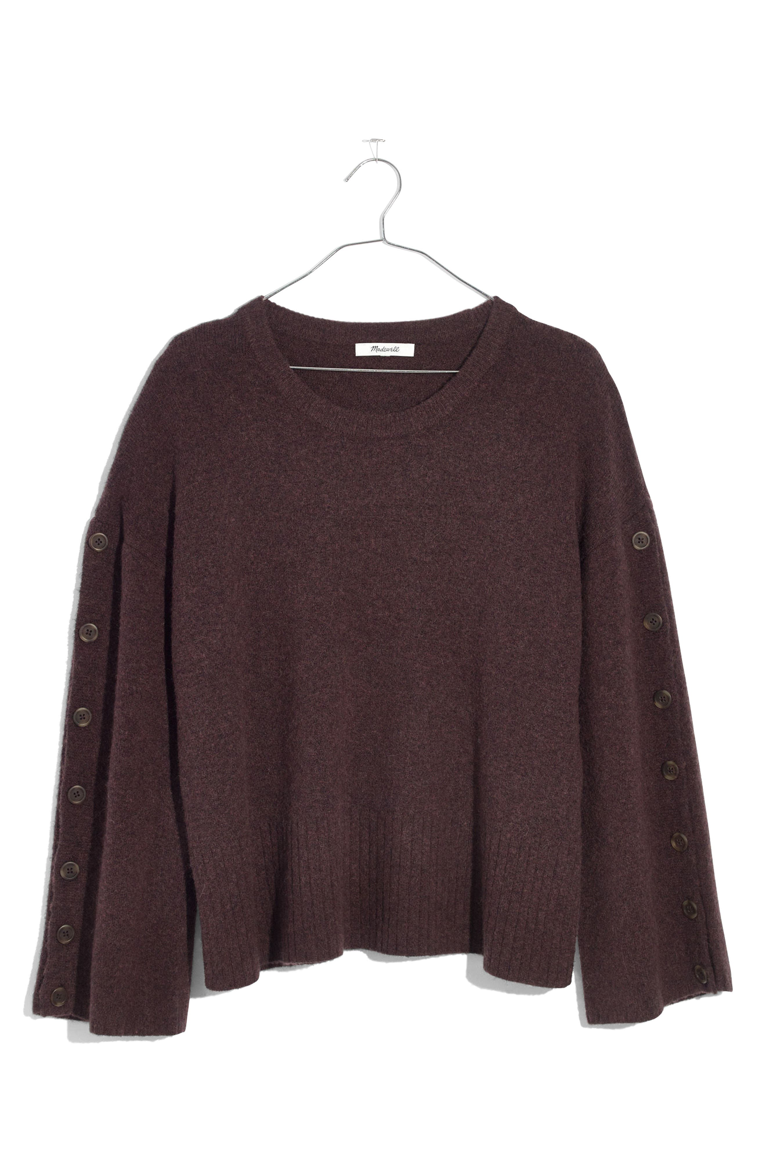 Button Sleeve Pullover Sweater,                             Alternate thumbnail 4, color,                             Heather Coffee