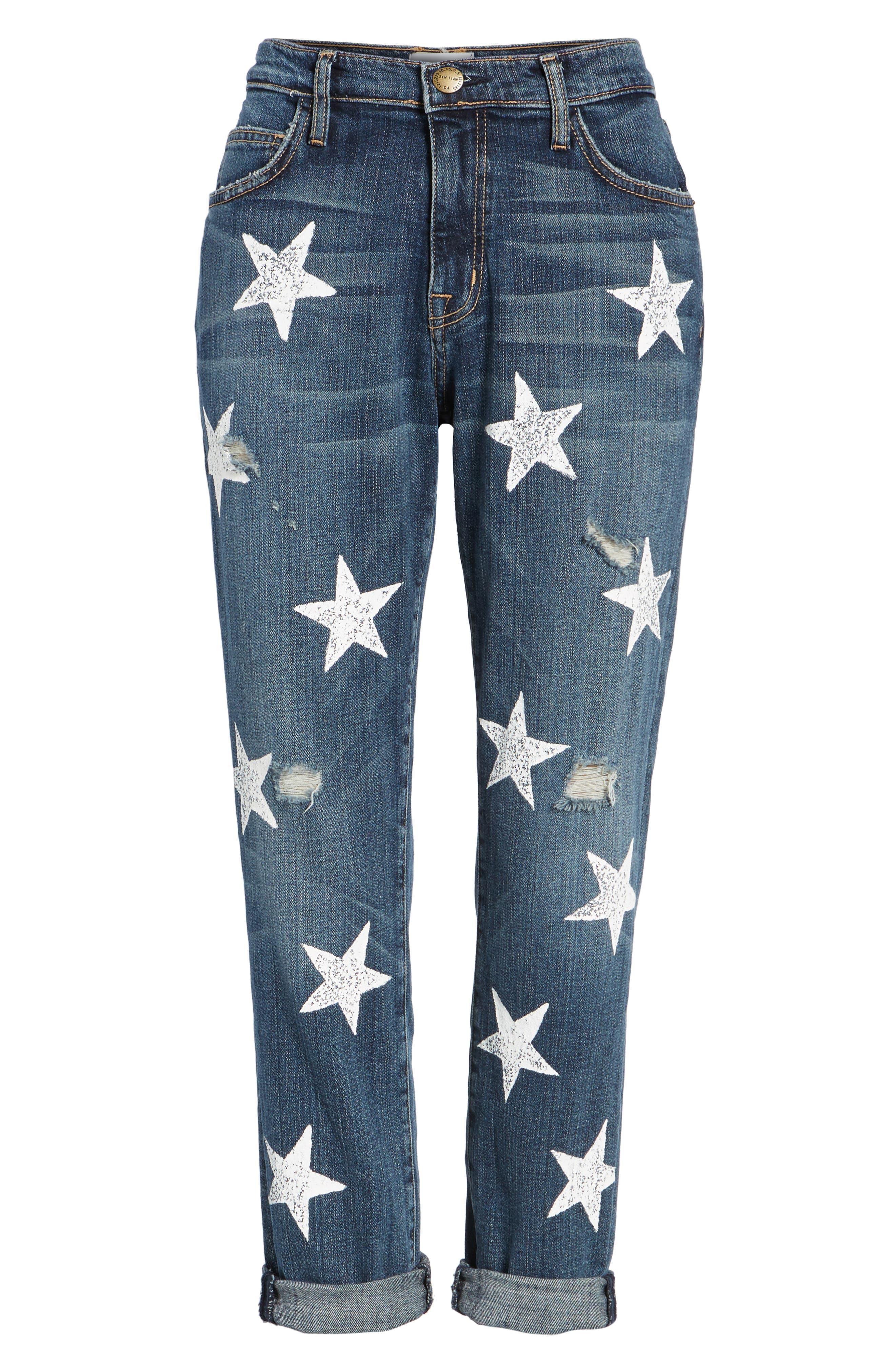 The Fling High Waist Boyfriend Jeans,                             Alternate thumbnail 7, color,                             Loved Destroy/ White Stars