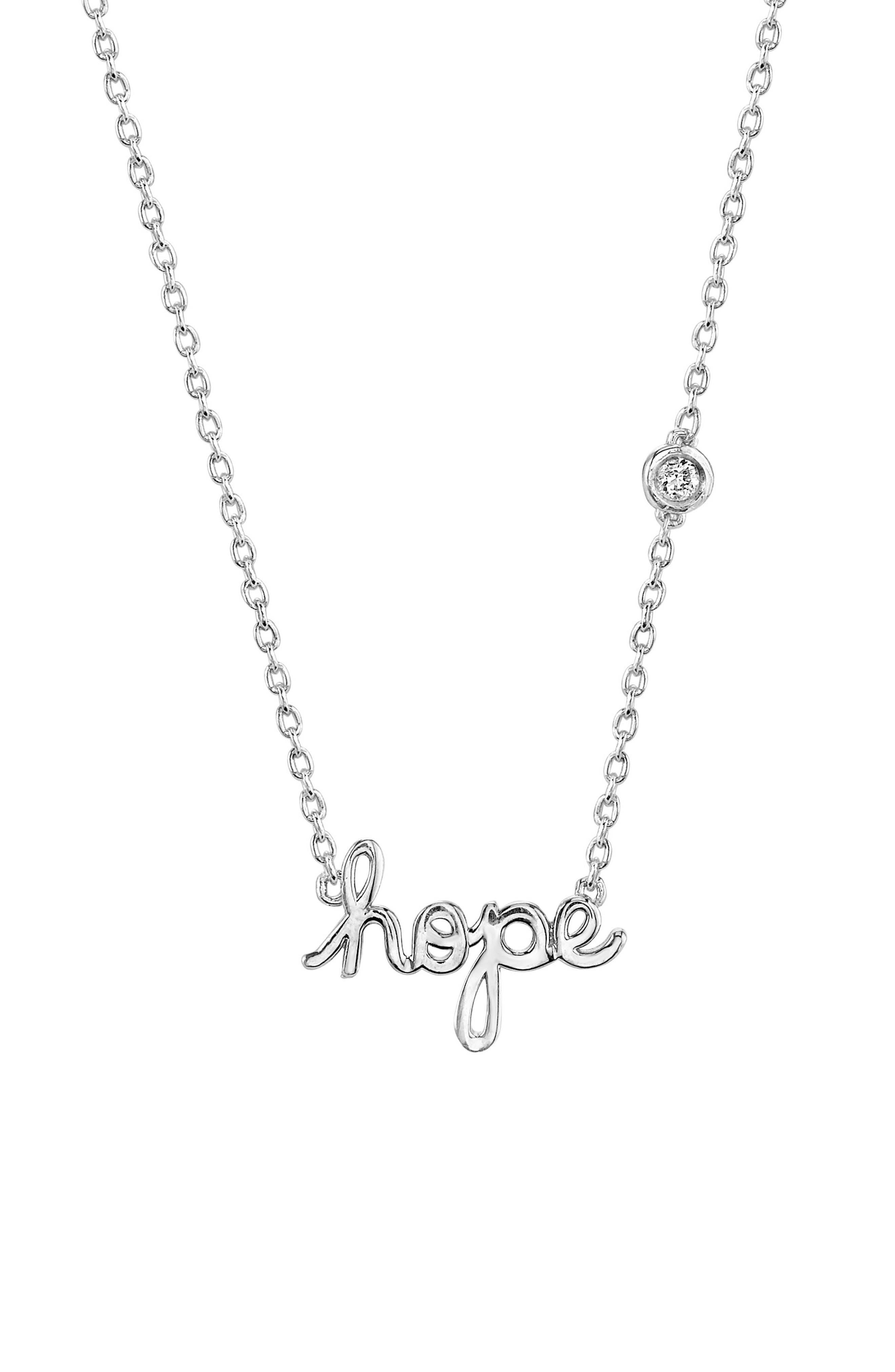 Hope Diamond Pendant Necklace,                         Main,                         color, Silver