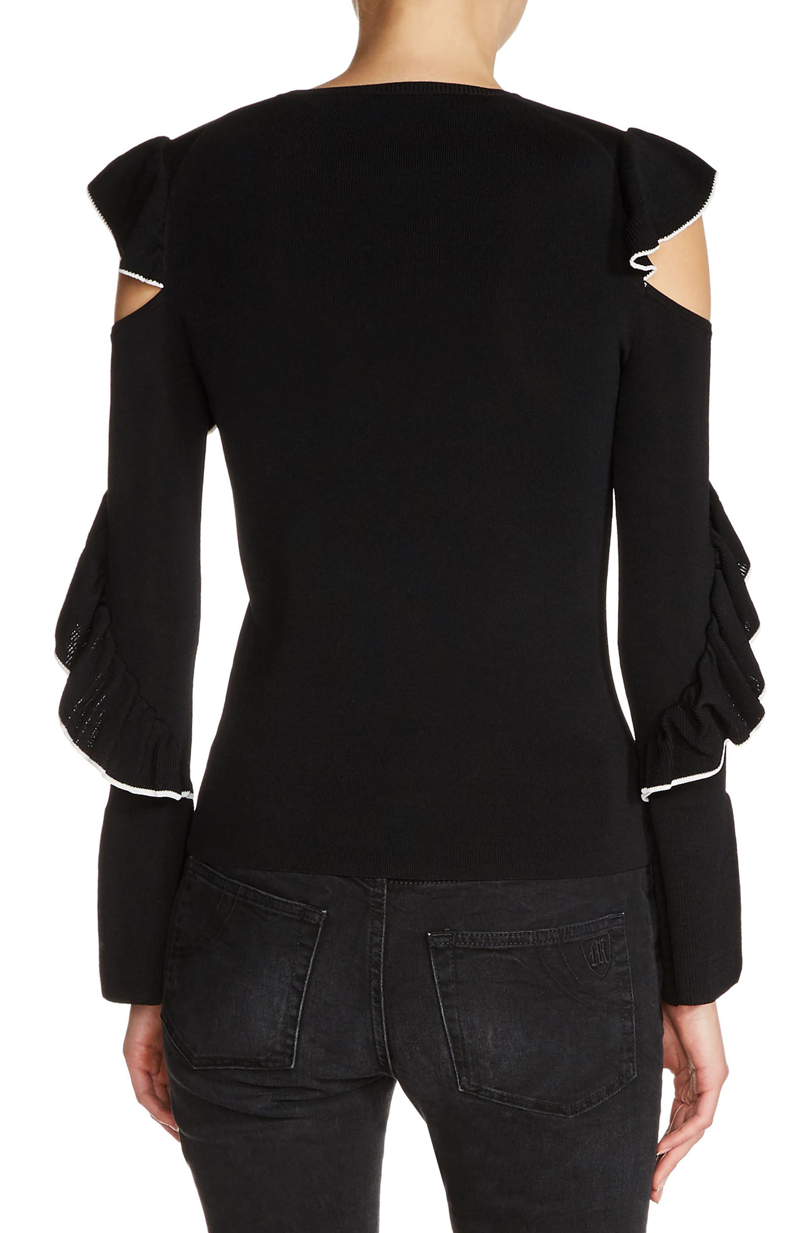 Alternate Image 2  - maje Tipped Ruffle Sleeve Sweater