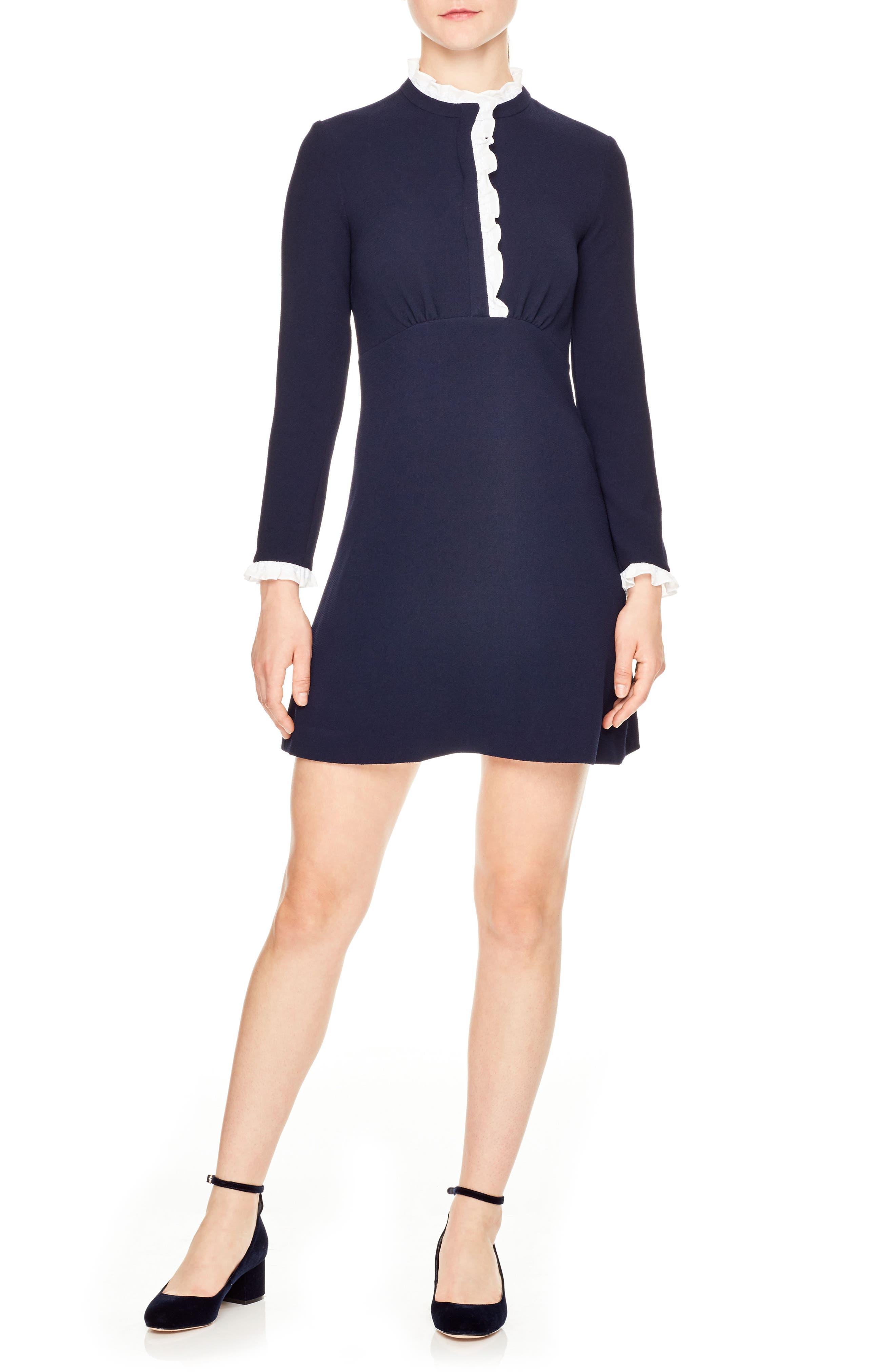 Natalia Long Sleeve Dress,                         Main,                         color, Navy