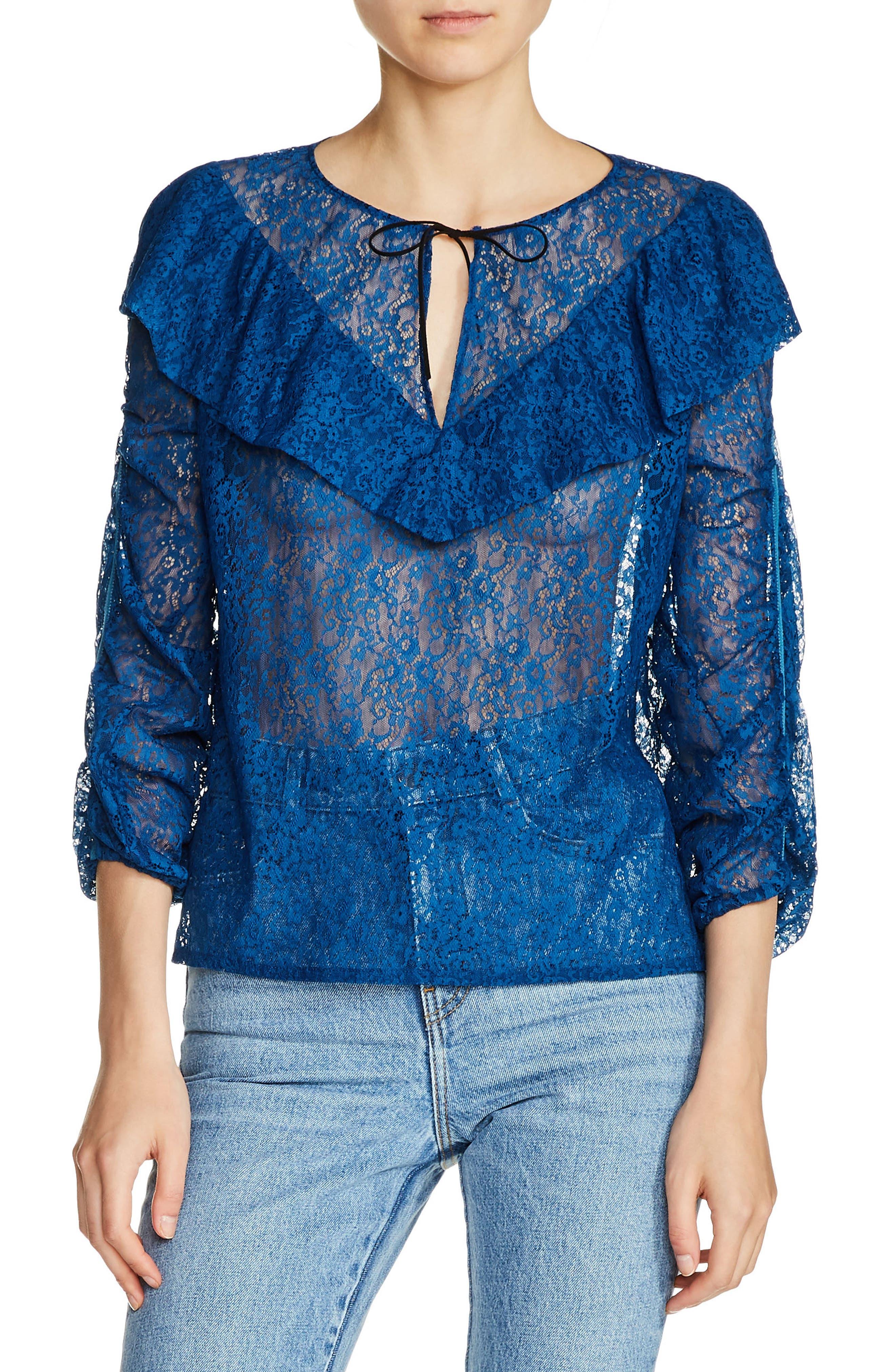 Ruffle Yoke Lace Top,                         Main,                         color, Bleu