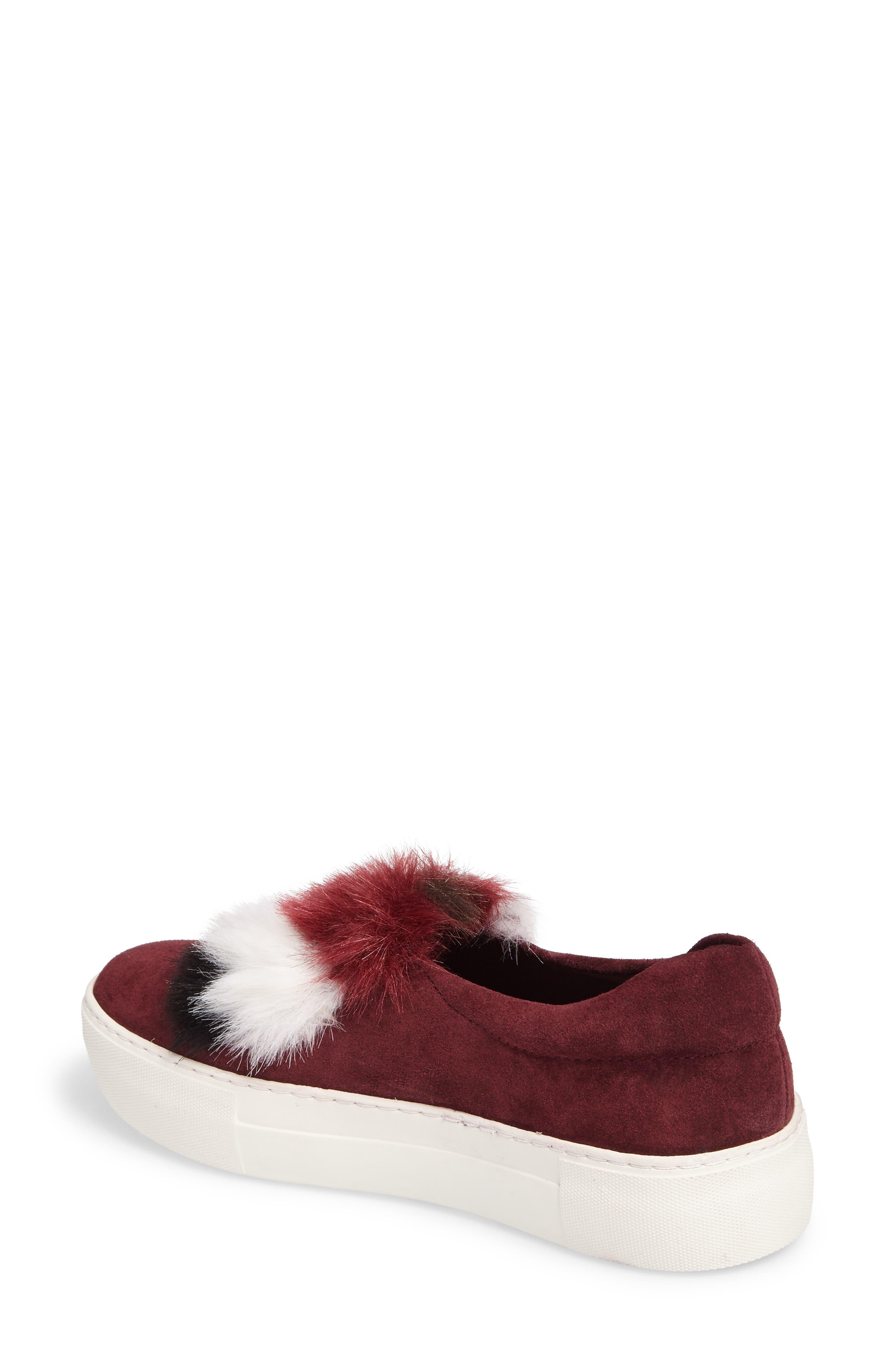 Alexi Faux Fur Slip-On Sneaker,                             Alternate thumbnail 2, color,                             Burgundy Suede