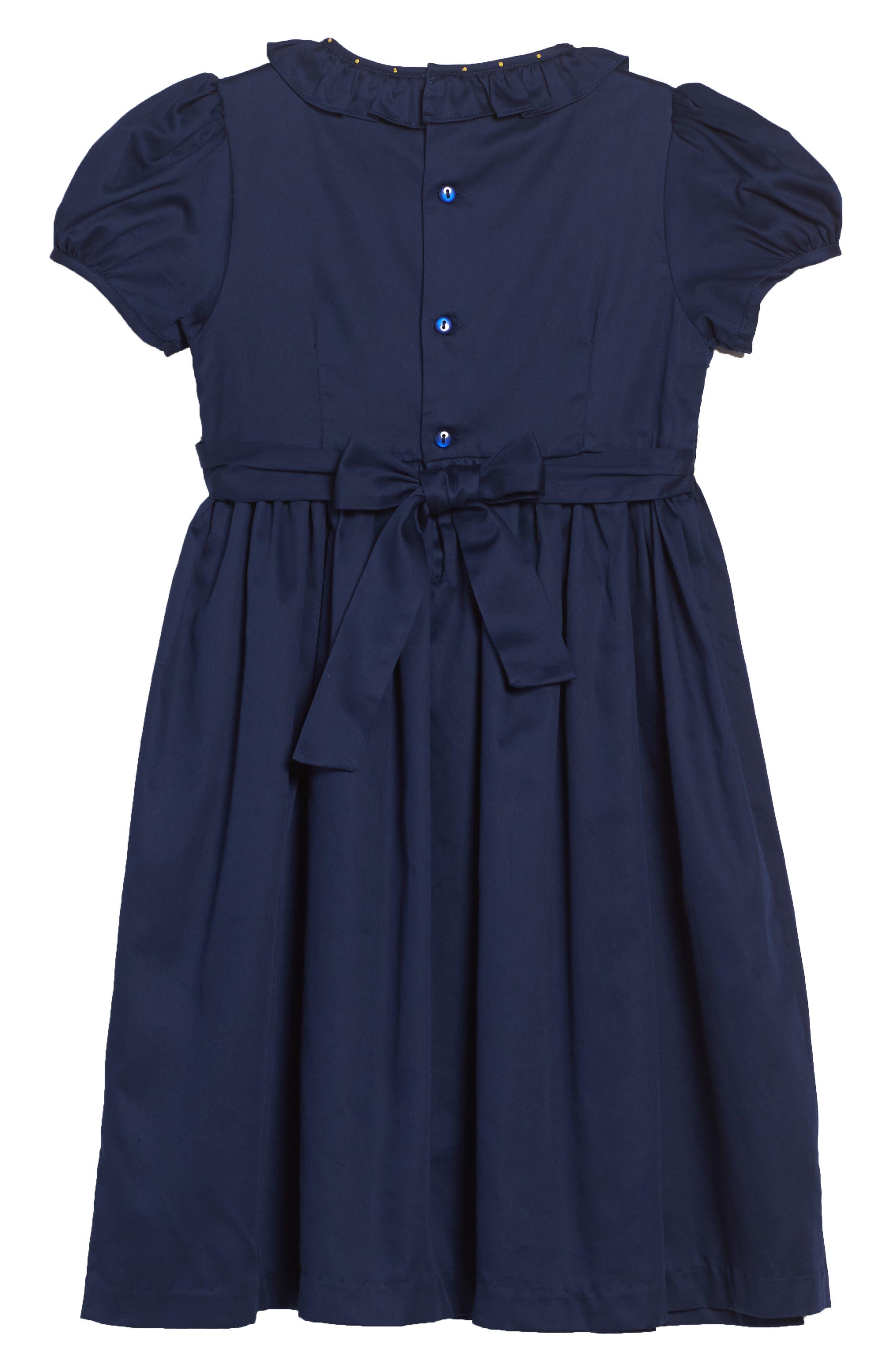 Smocked Dress,                             Alternate thumbnail 2, color,                             Navy/ Gold