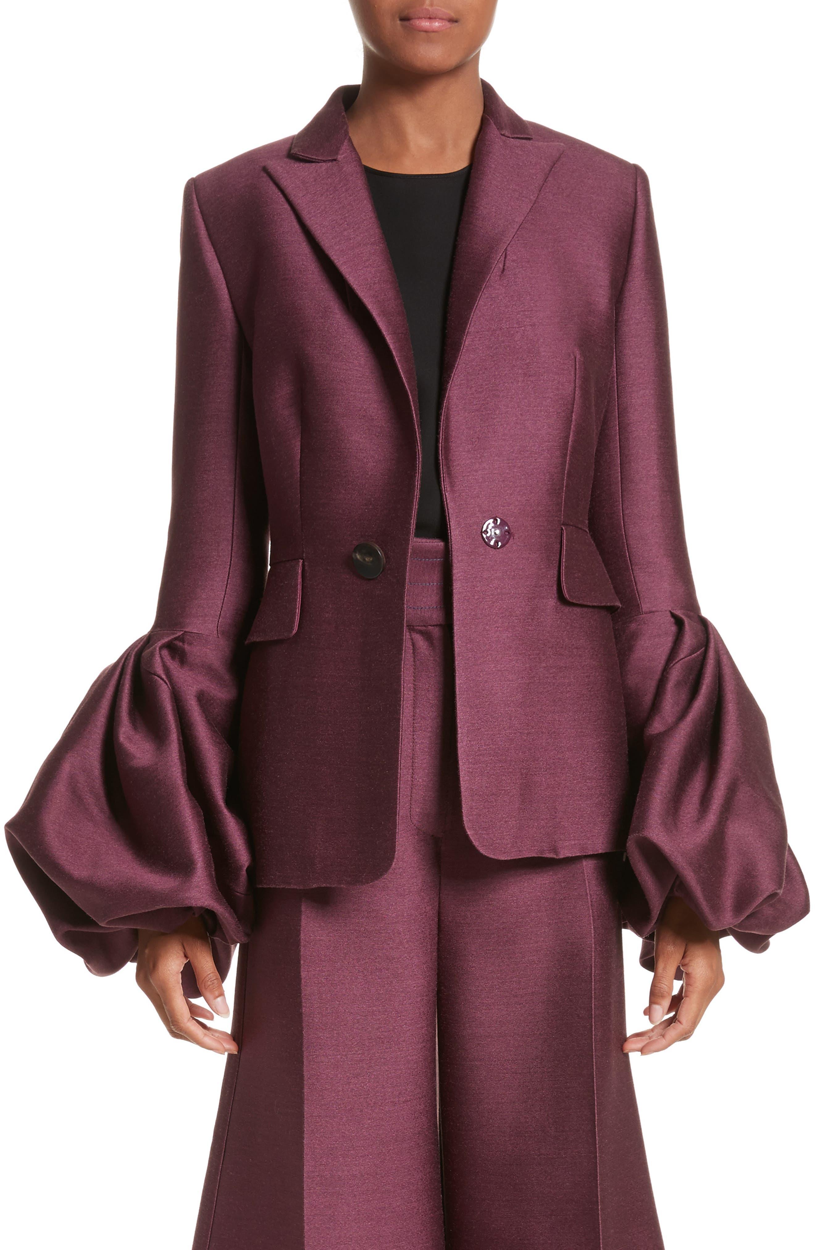 Narika Wool & Silk Jacket,                         Main,                         color, Plum