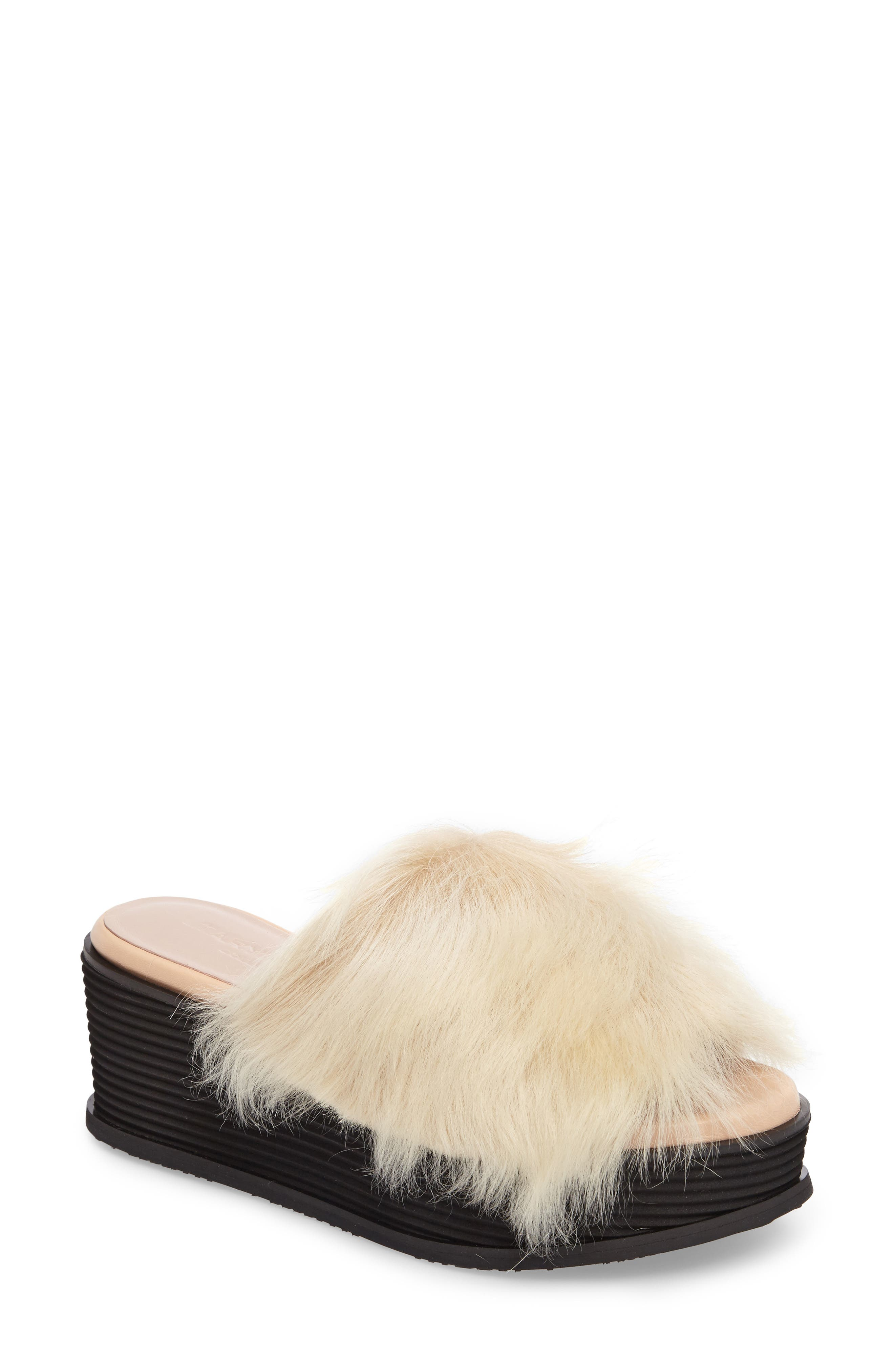 Taryn Rose Pearla Genuine Shearling Platform Slide Sandal (Women)