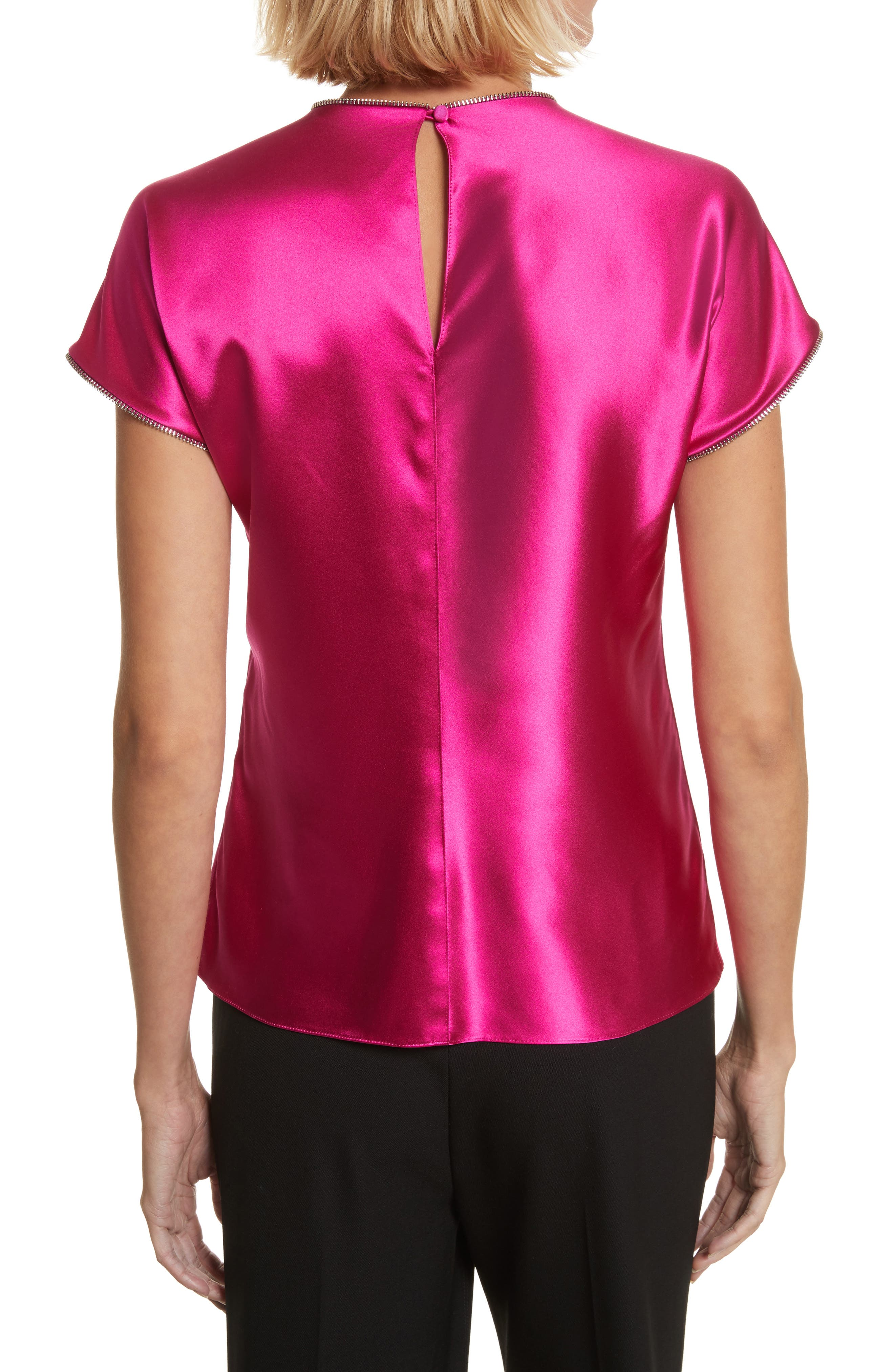 Zipper Detail Lacquered Silk Top,                             Alternate thumbnail 2, color,                             Magenta