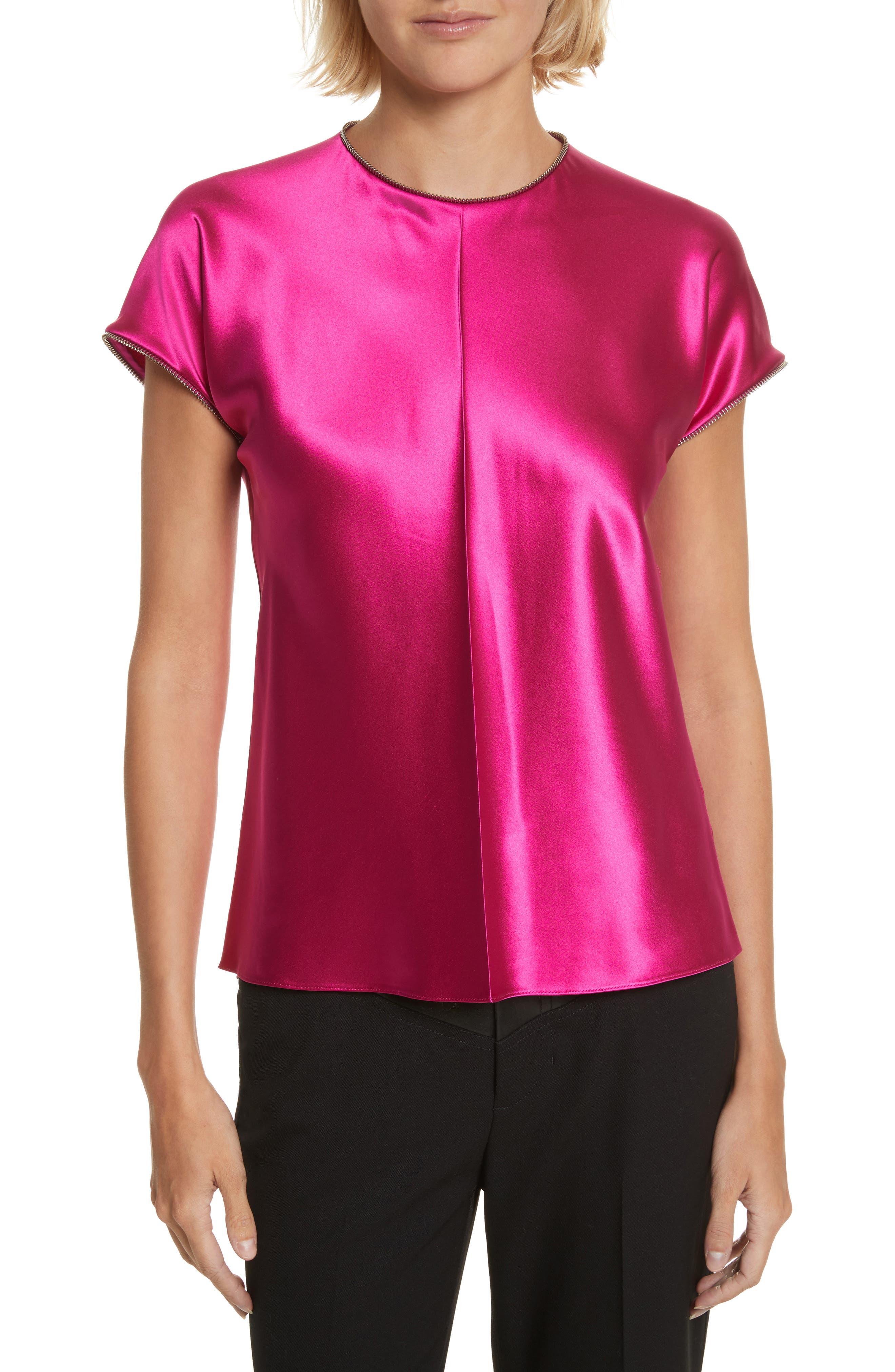 Zipper Detail Lacquered Silk Top,                         Main,                         color, Magenta