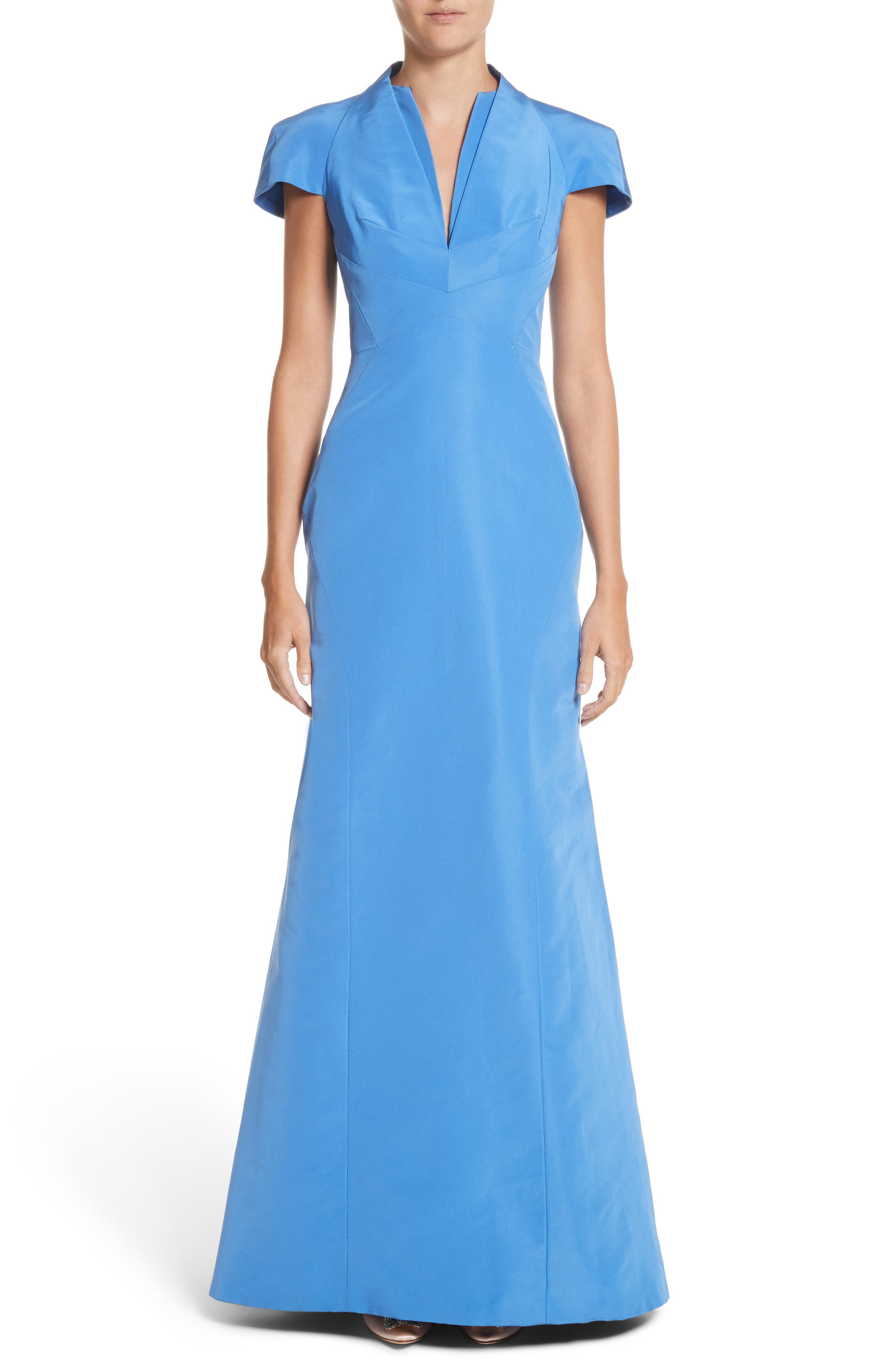 Main Image - Zac Posen Silk Faille Short Sleeve Mermaid Gown