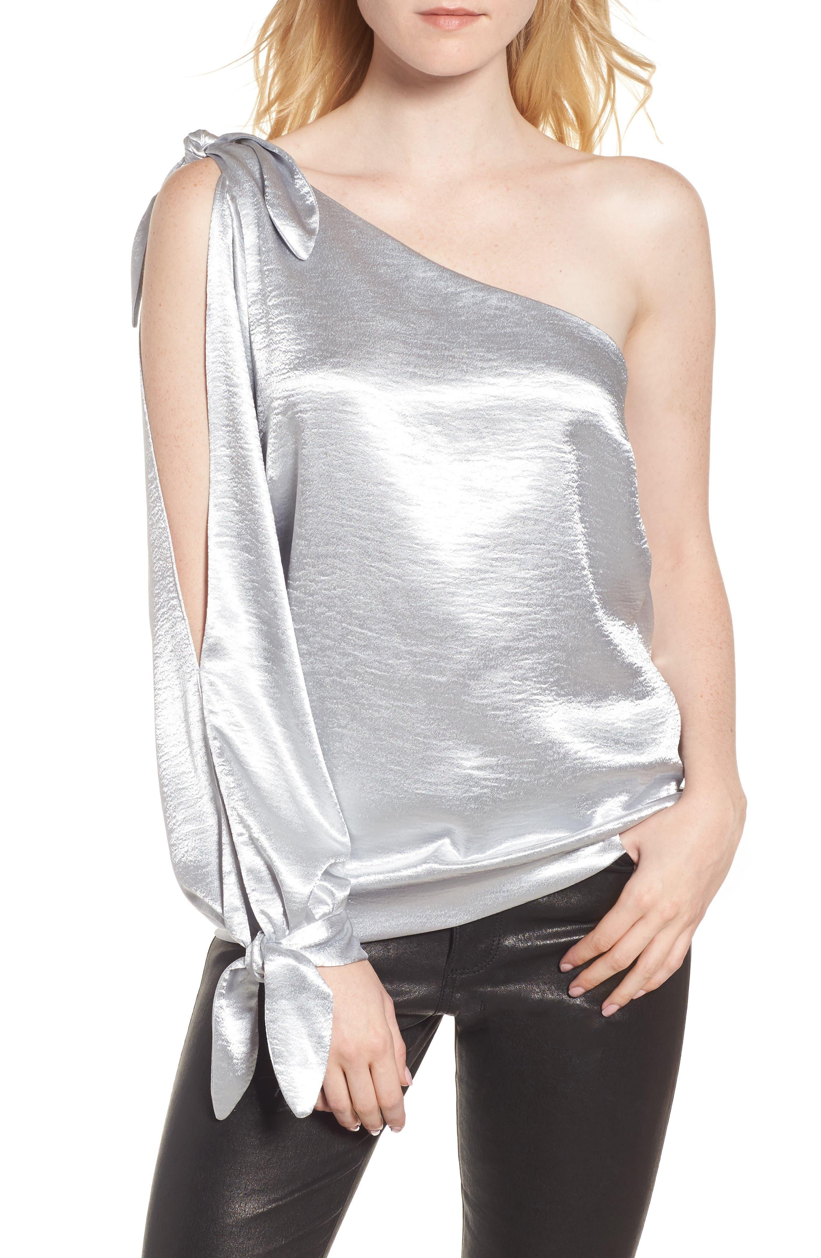 Nash One-Shoulder Blouse,                             Main thumbnail 1, color,                             Silver