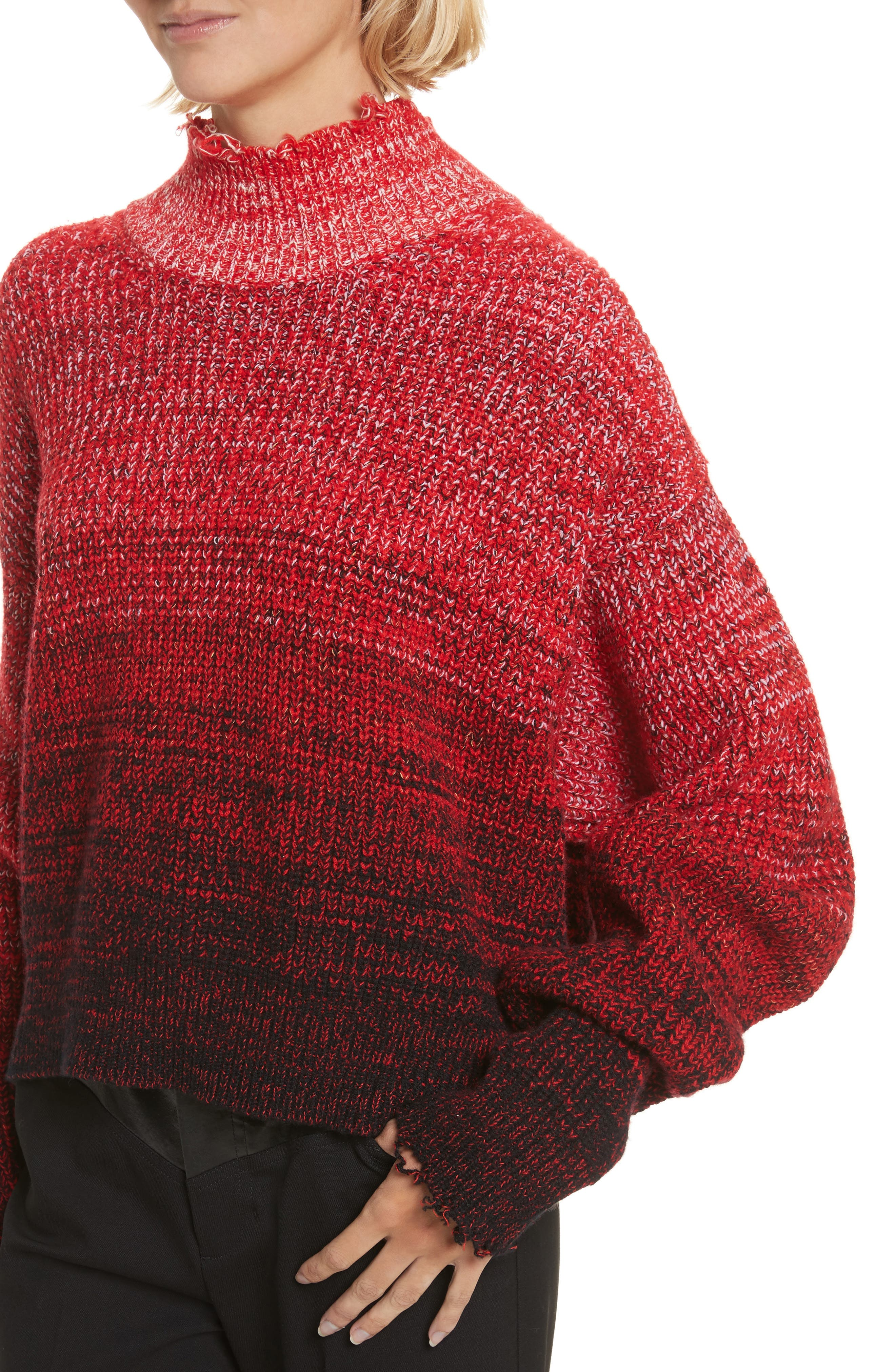 Distressed Marled Patchwork Turtleneck Sweater,                             Alternate thumbnail 4, color,                             Siren