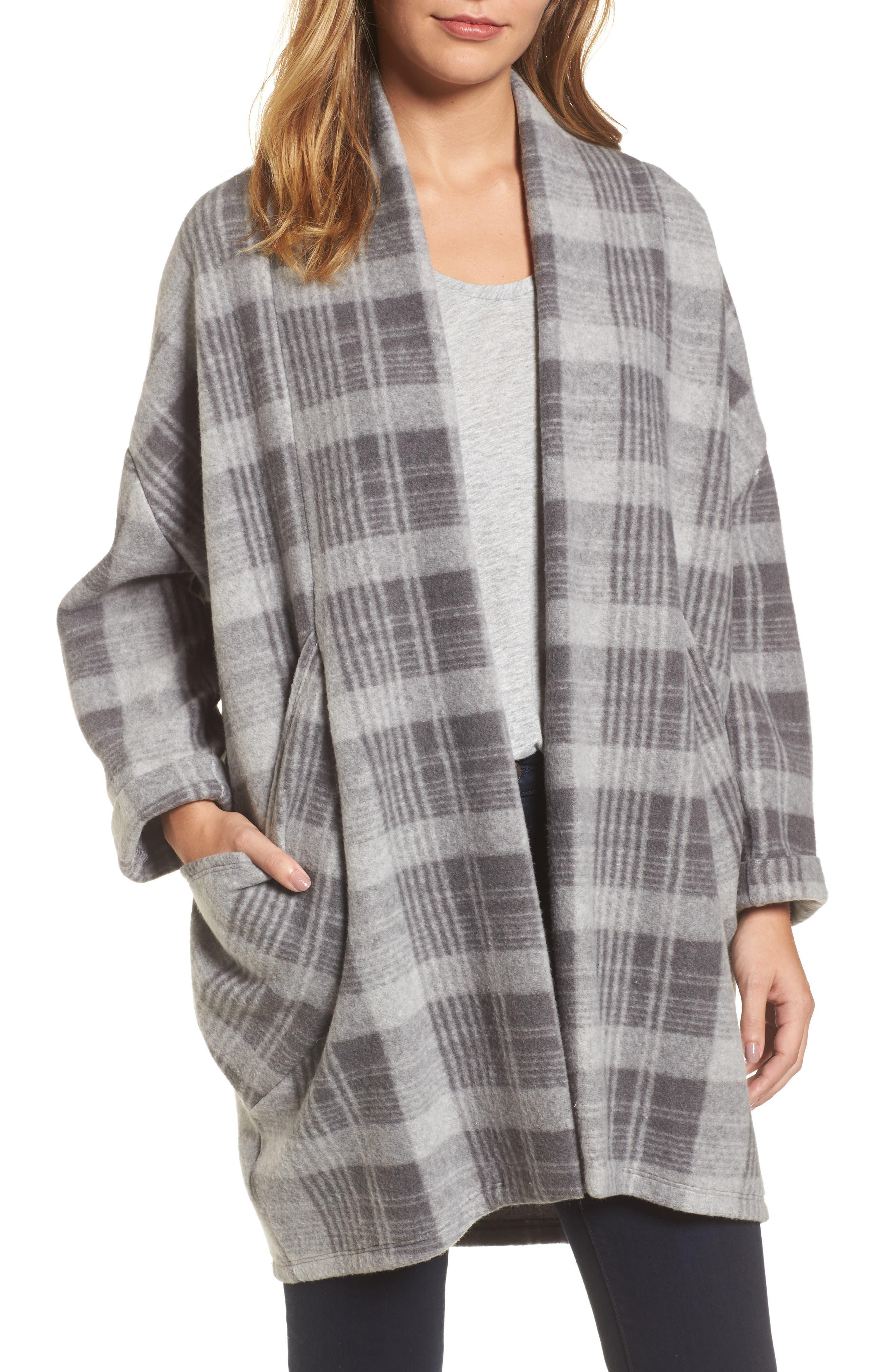 Oversize Jacket,                         Main,                         color, Grey Plaid