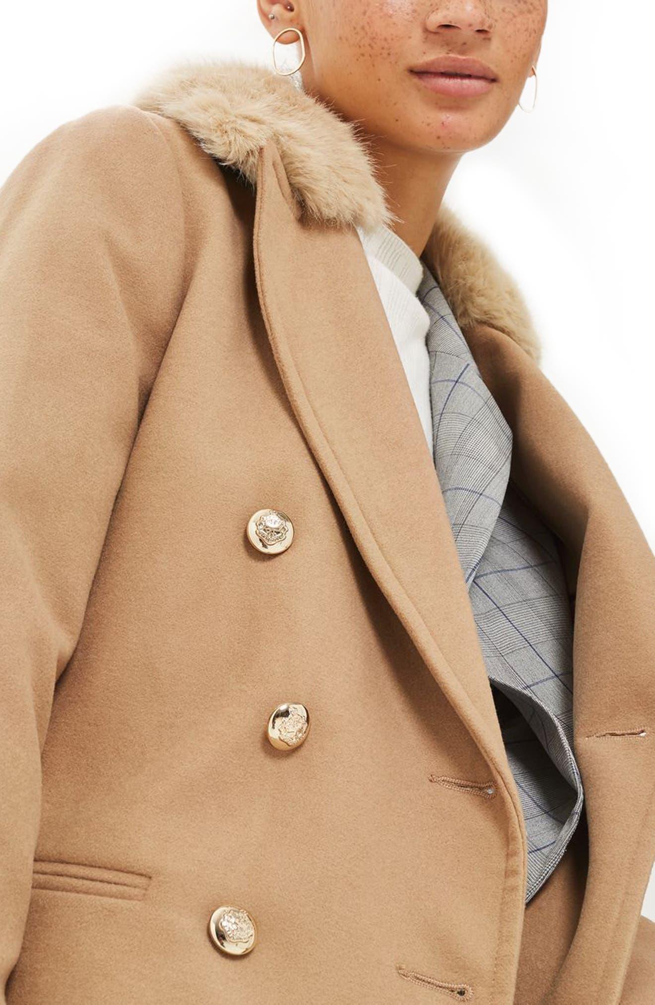 Alternate Image 3  - Topshop Nina Faux Fur Collar Double Breasted Coat