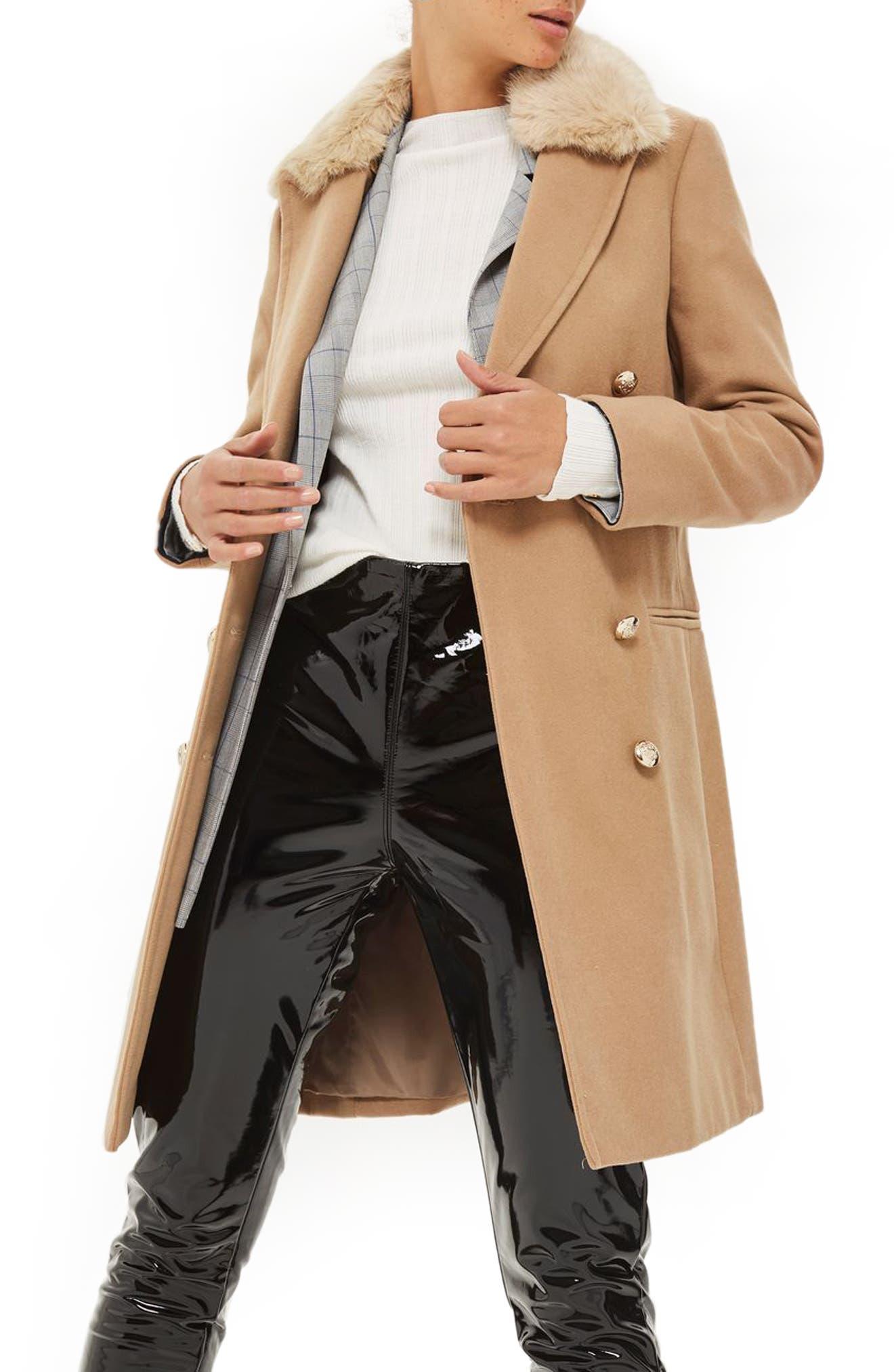 Main Image - Topshop Nina Faux Fur Collar Double Breasted Coat