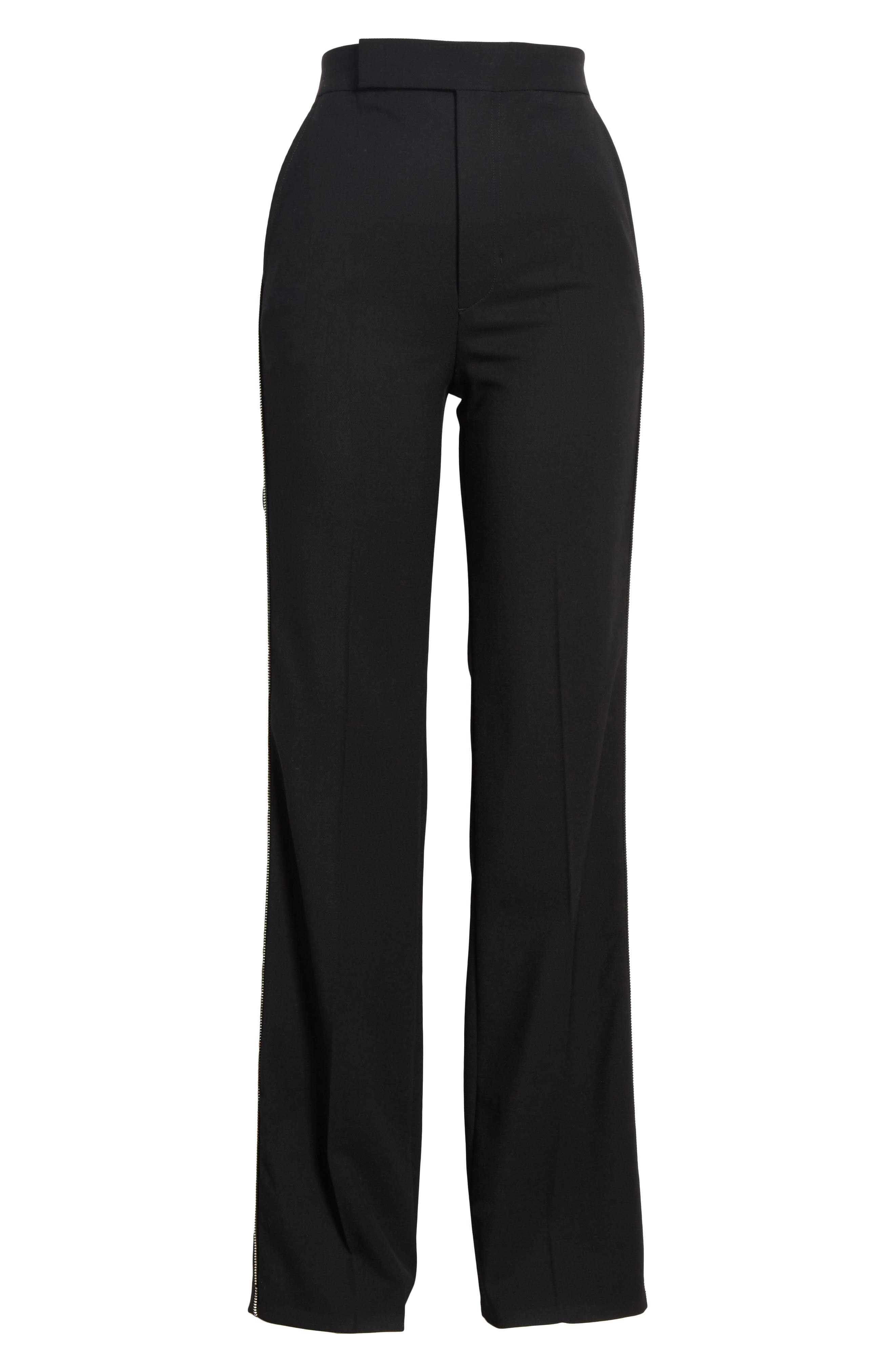 Side Zip Detail Suiting Pants,                             Alternate thumbnail 6, color,                             Black