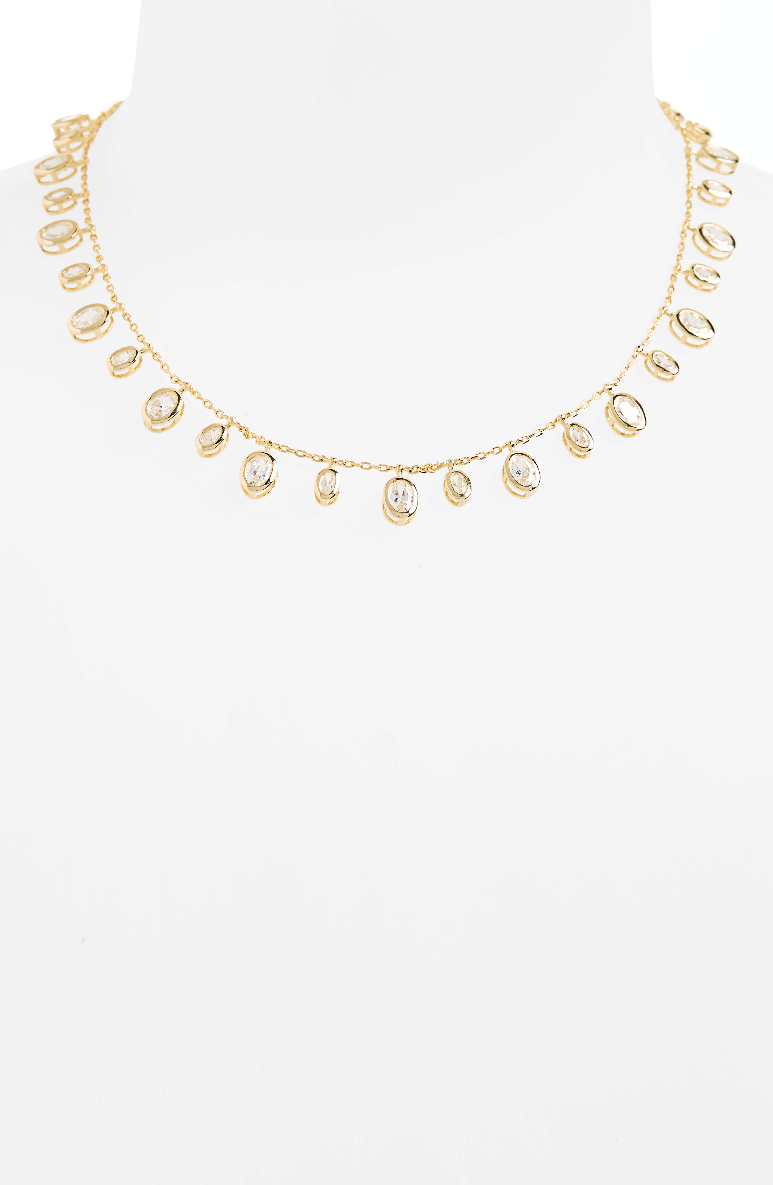 Tracey Cubic Zirconia Collar Necklace,                         Main,                         color, Gold