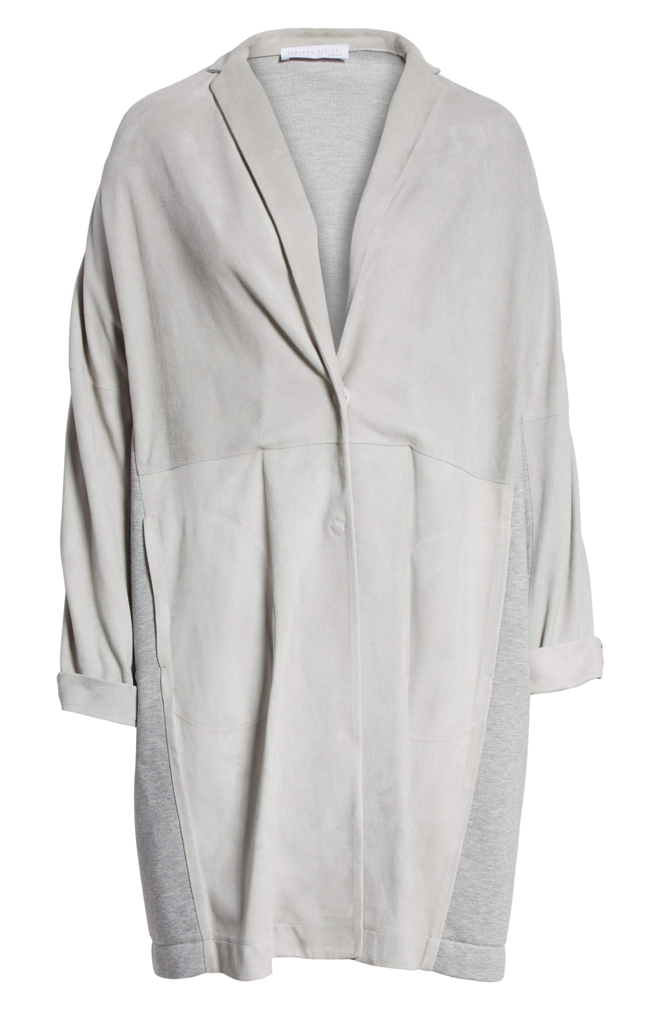 Suede Front Jersey Jacket,                             Alternate thumbnail 7, color,                             Grey