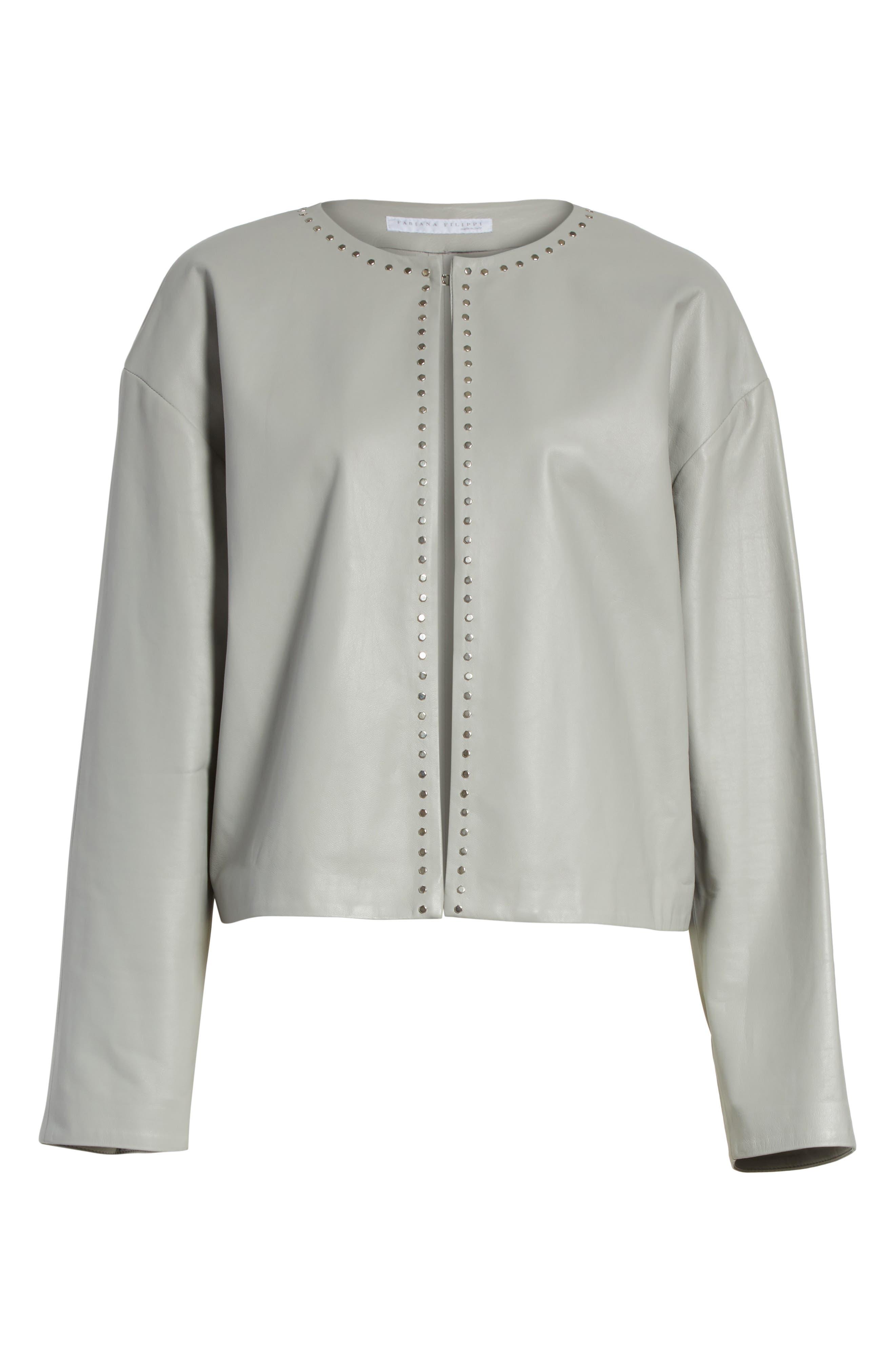 Studded Nappa Leather Jacket,                             Alternate thumbnail 6, color,                             Grey