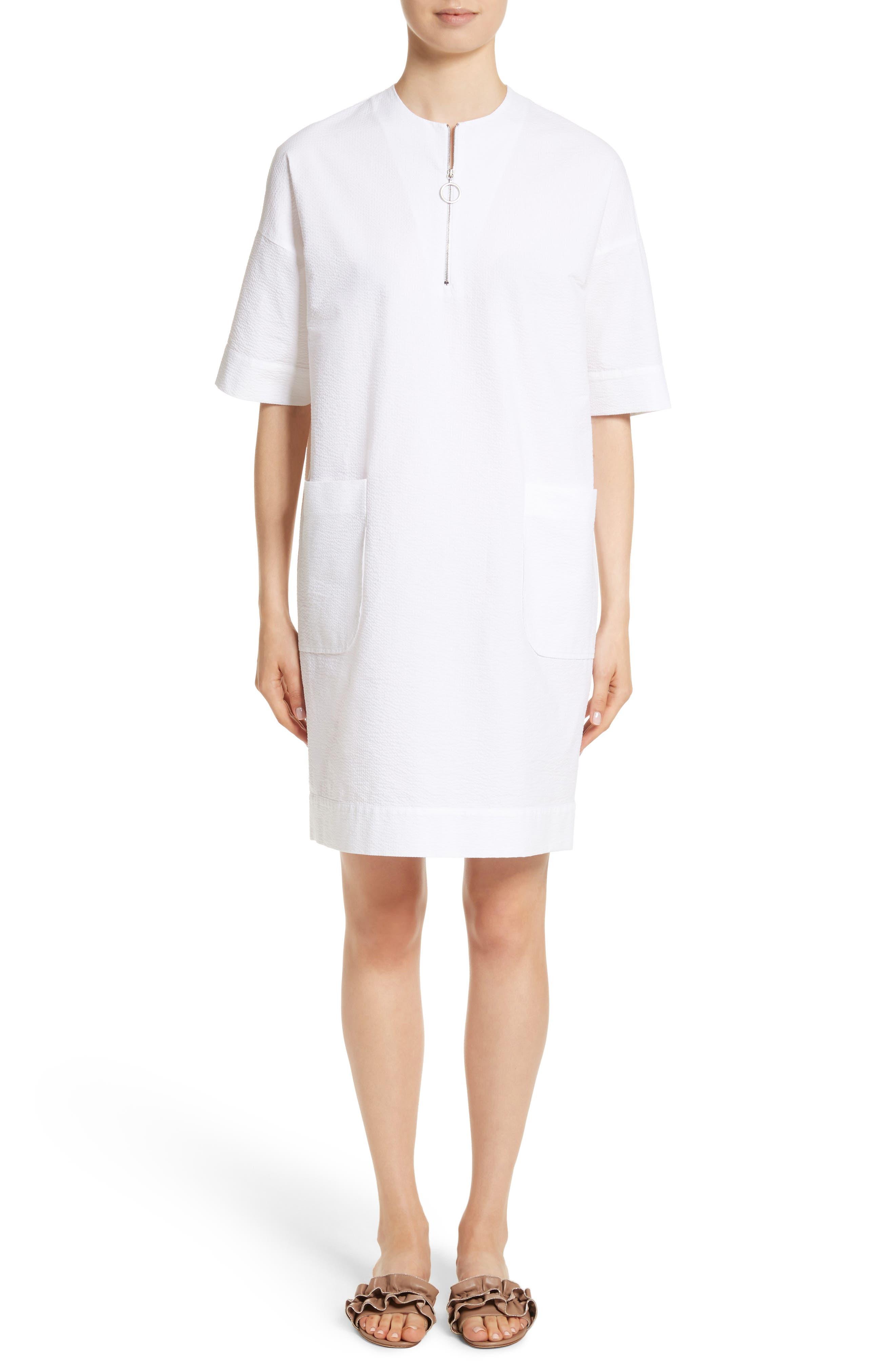 Seersucker Shift Dress,                         Main,                         color, Pure White