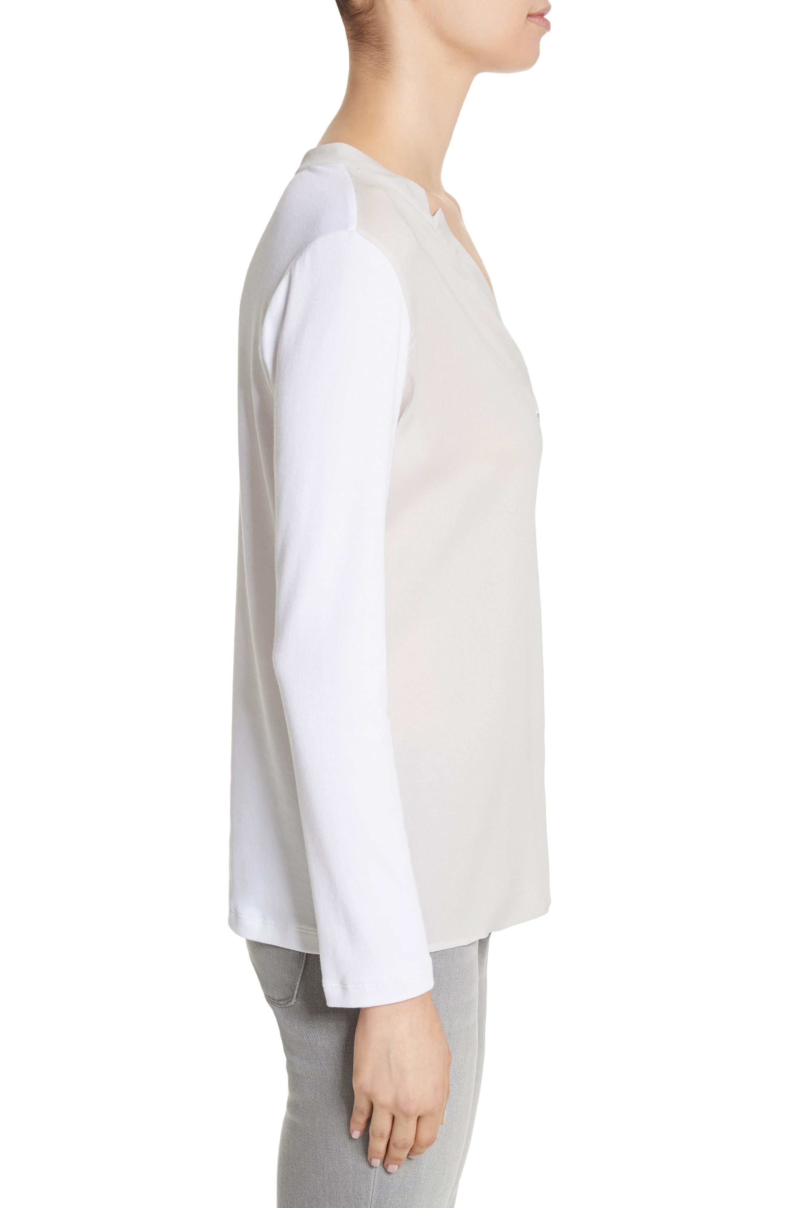 Crêpe de Chine & Ribbed Jersey Blouse,                             Alternate thumbnail 3, color,                             Pearl Grey
