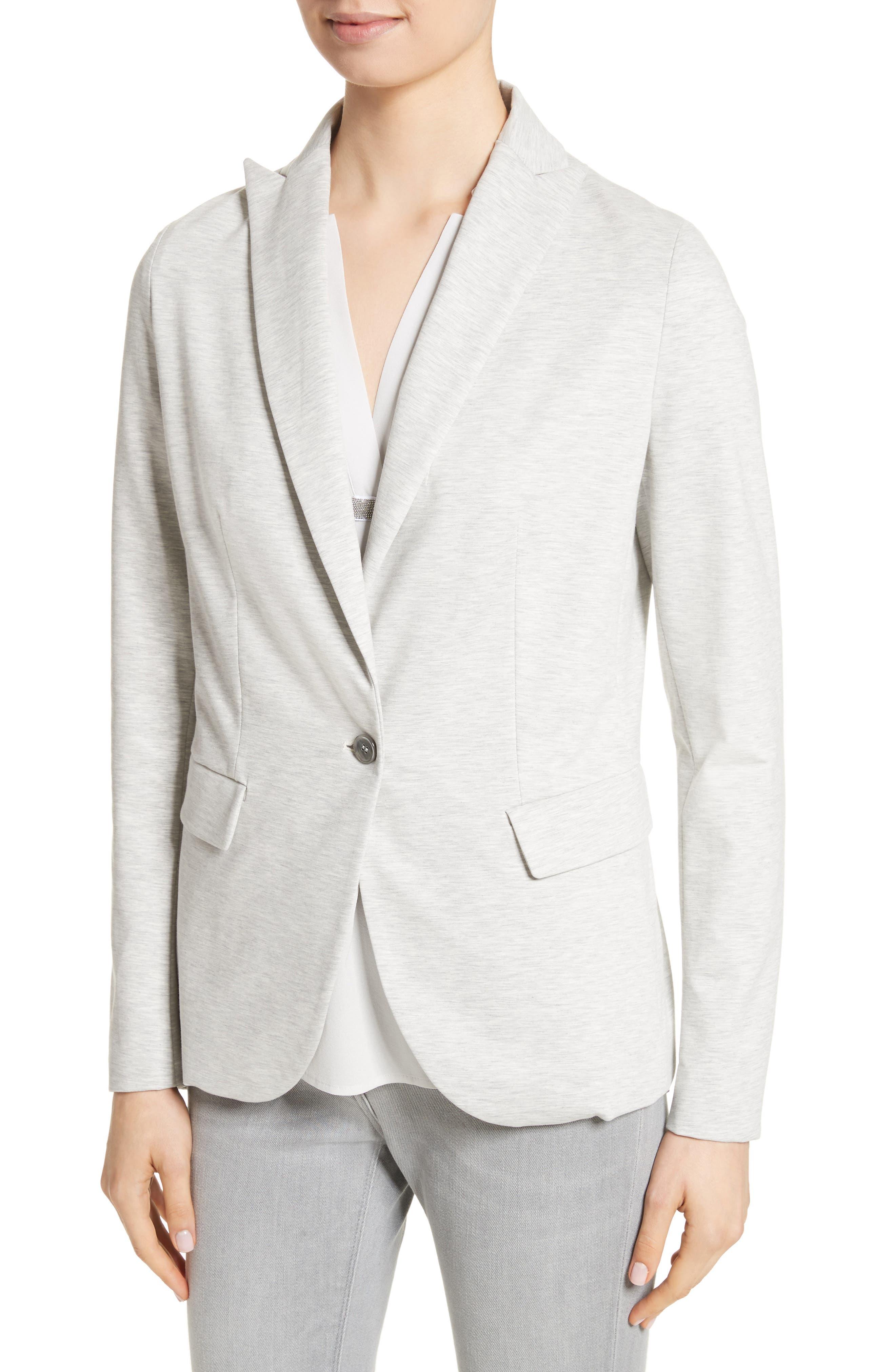 Rodier Jersey Blazer,                             Alternate thumbnail 3, color,                             Pearl Grey