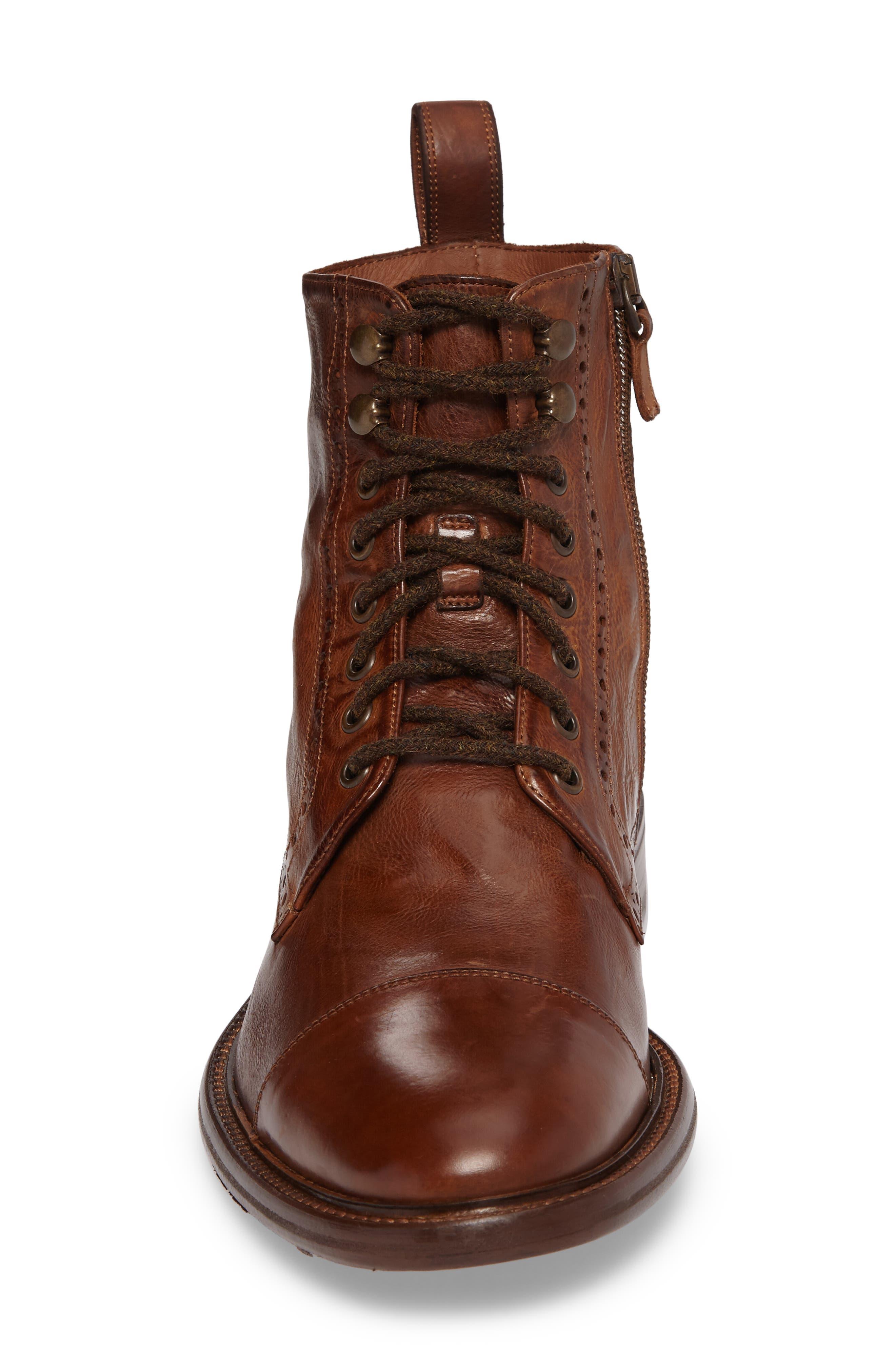 Bryson Cap Toe Boot,                             Alternate thumbnail 4, color,                             Mahogany Leather