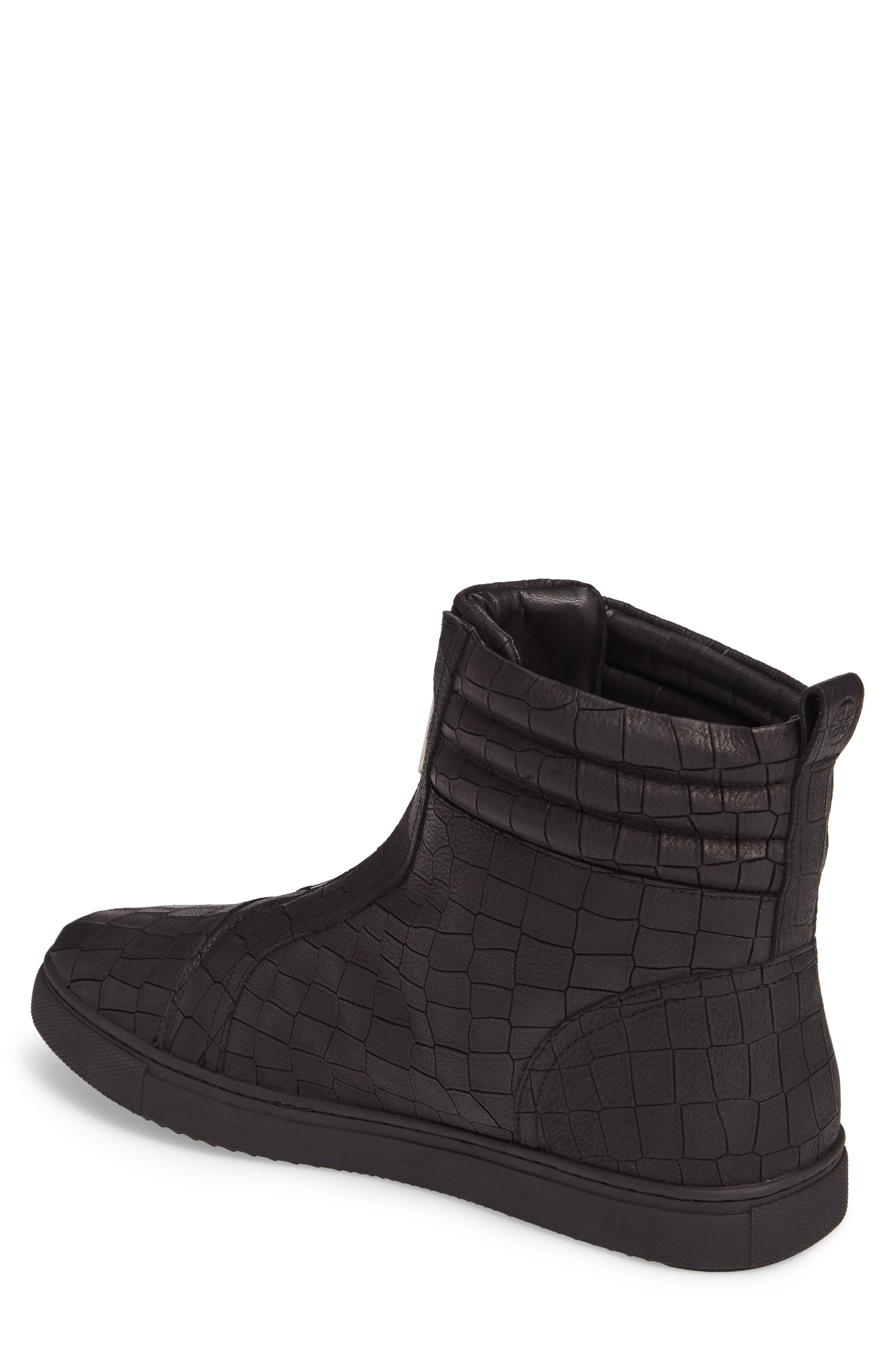 Hip & Bone Zip Boot,                             Alternate thumbnail 2, color,                             Black Croc Leather