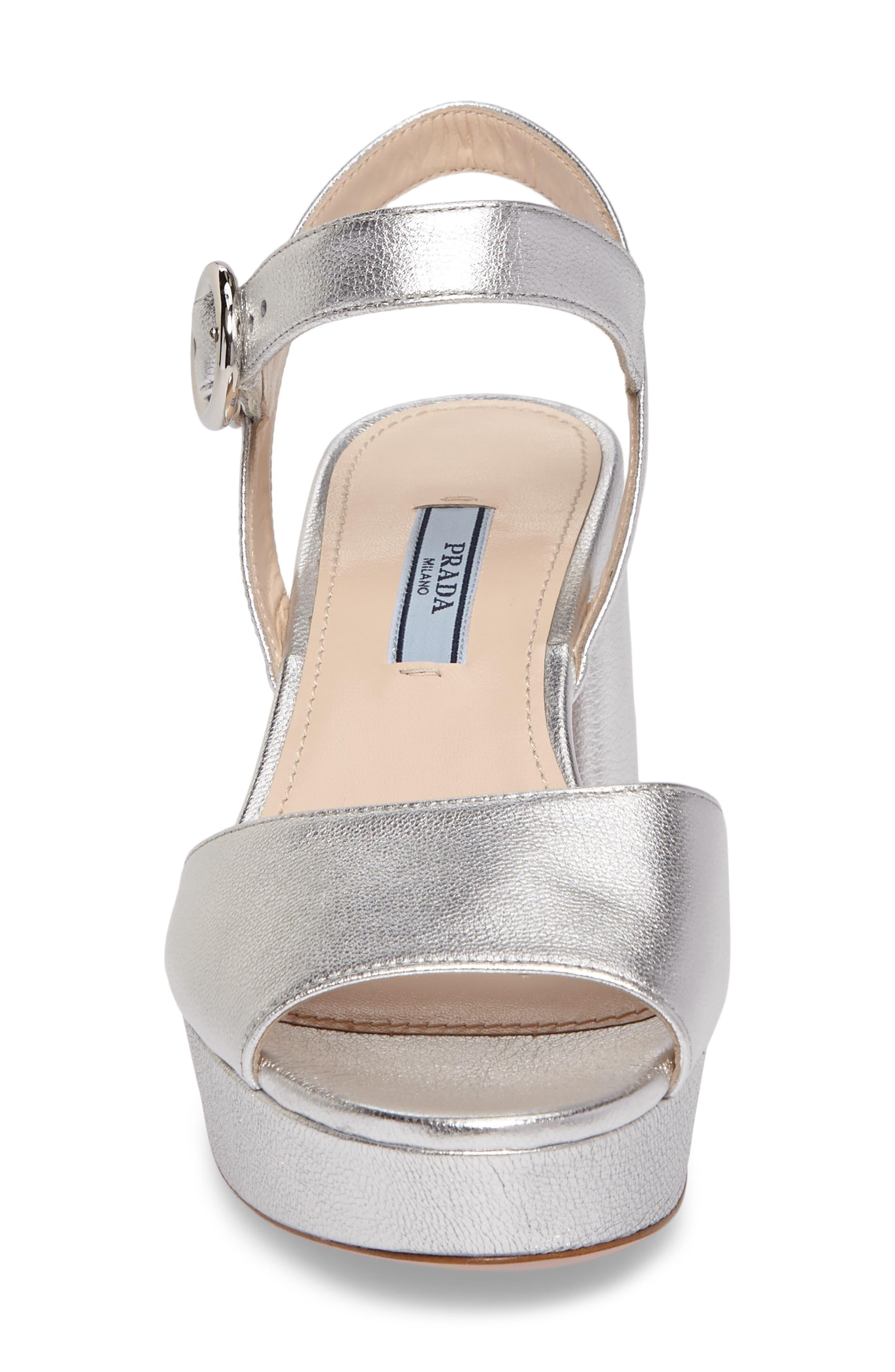 Ankle Strap Platform Sandal,                             Alternate thumbnail 4, color,                             Silver