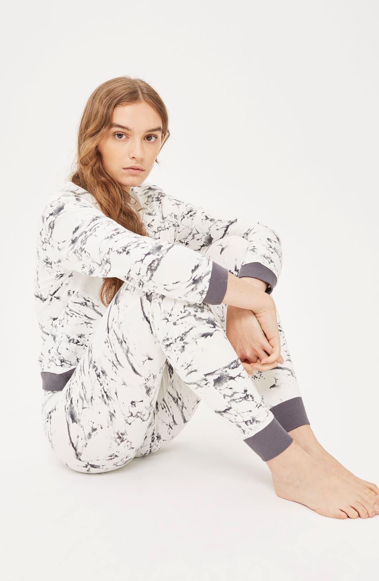Marble Print Lounge Sweatshirt,                             Alternate thumbnail 3, color,                             Grey Multi