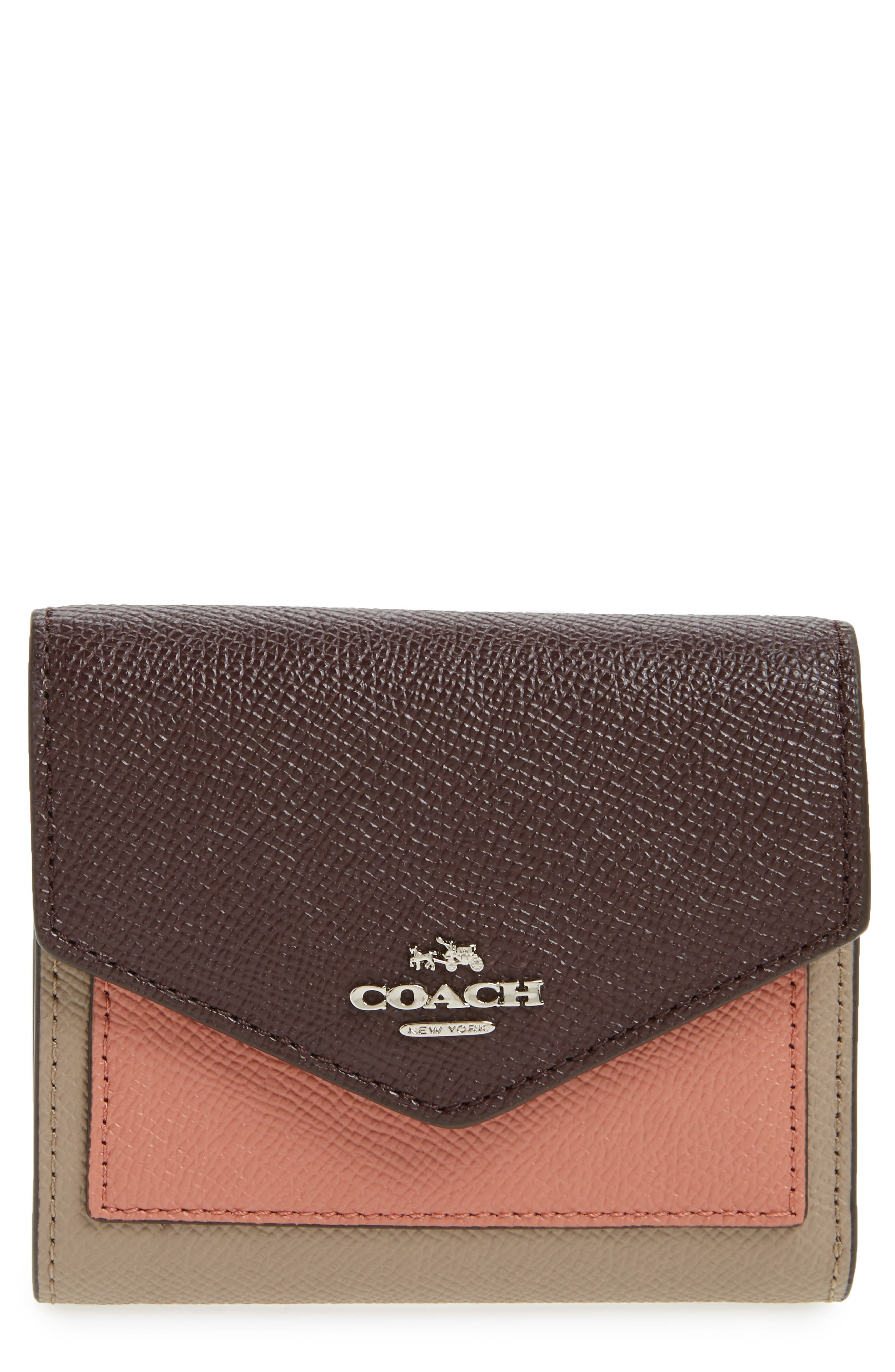 Small Colorblock Calfskin Leather Wallet,                         Main,                         color, Stone/ Melon/ Oxblood