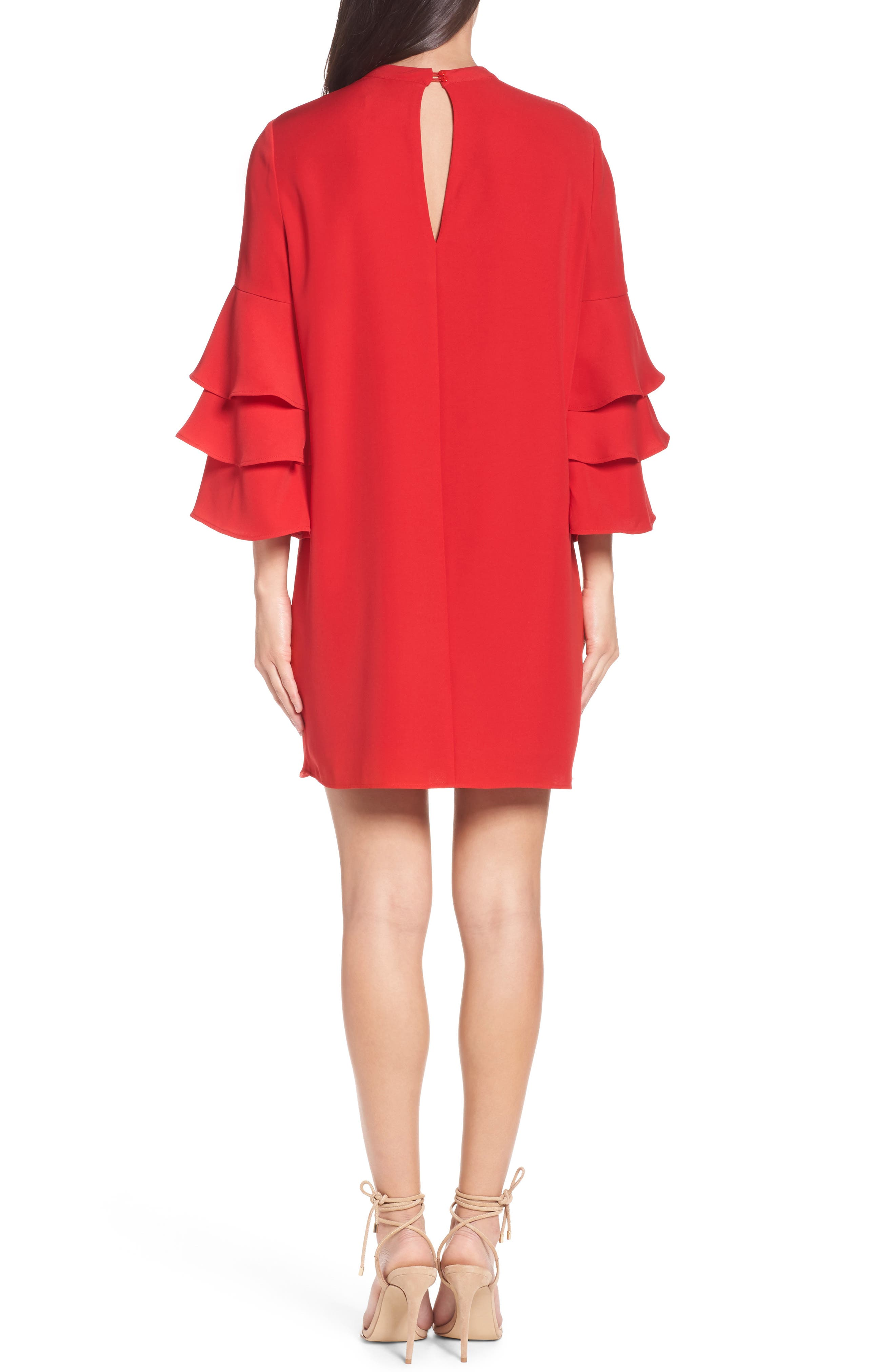 Ruffle Sleeve Shift Dress,                             Alternate thumbnail 2, color,                             Red Mars