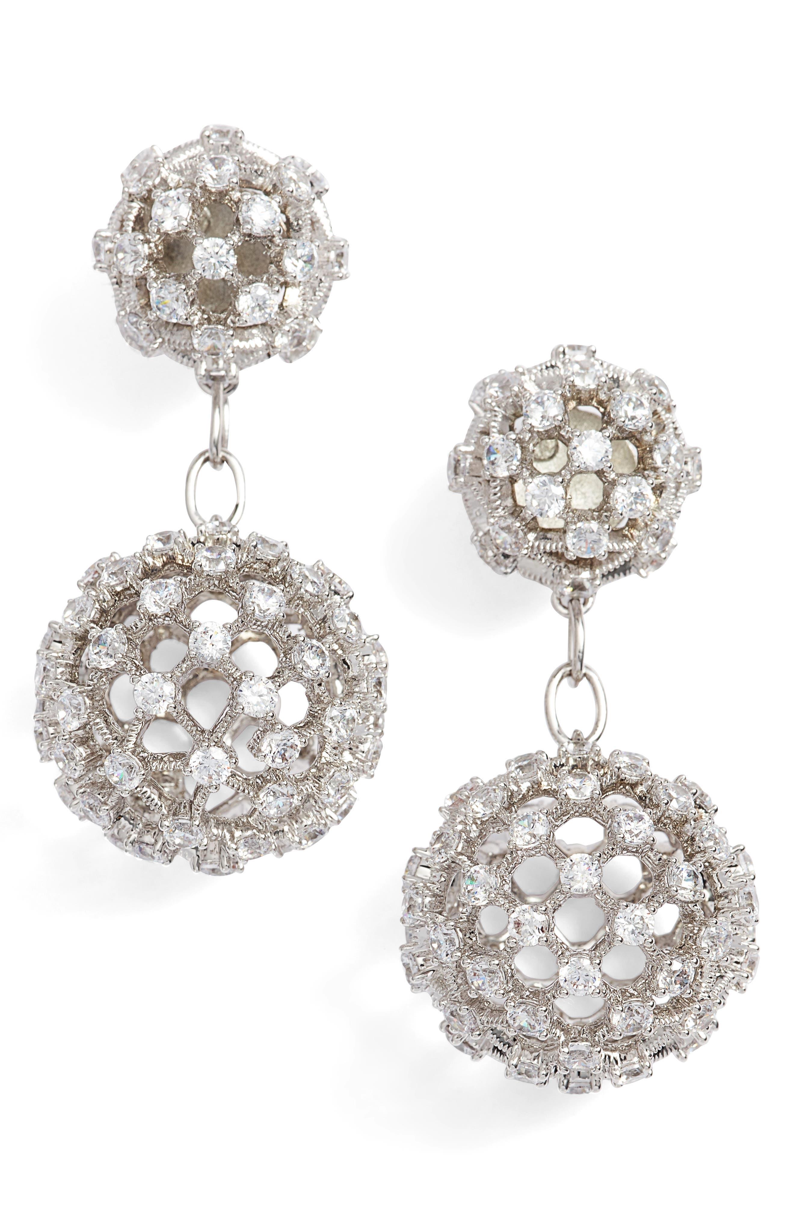 Cubic Zirconia Double Drop Earrings,                         Main,                         color, Rhodium