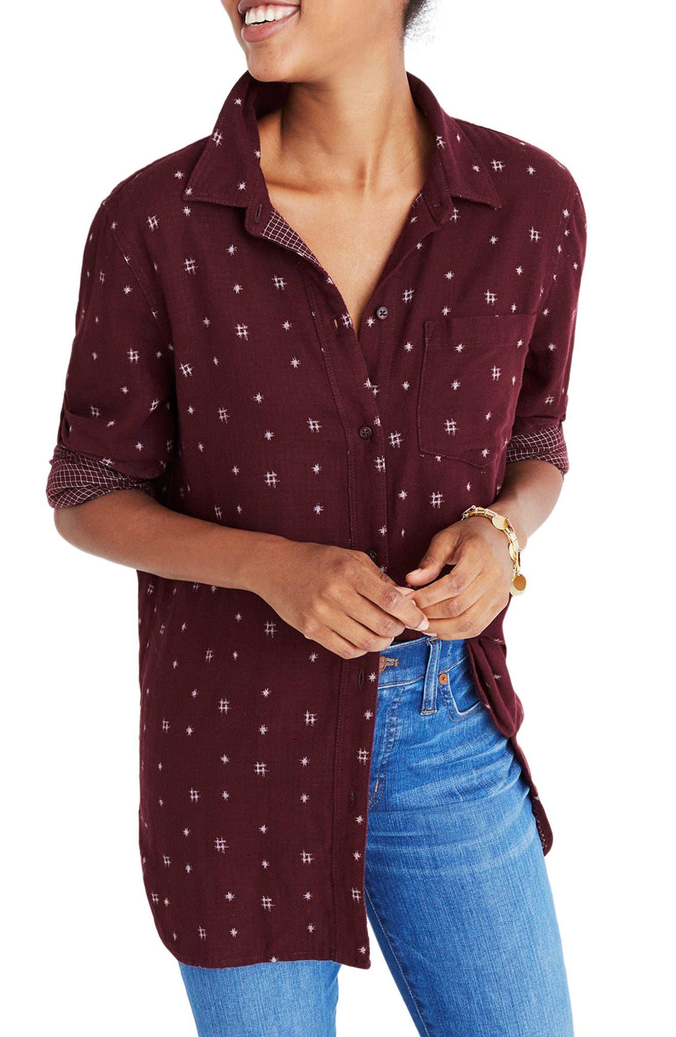 Double Face Classic Ex-Boyfriend Shirt,                         Main,                         color, Dark Cabernet