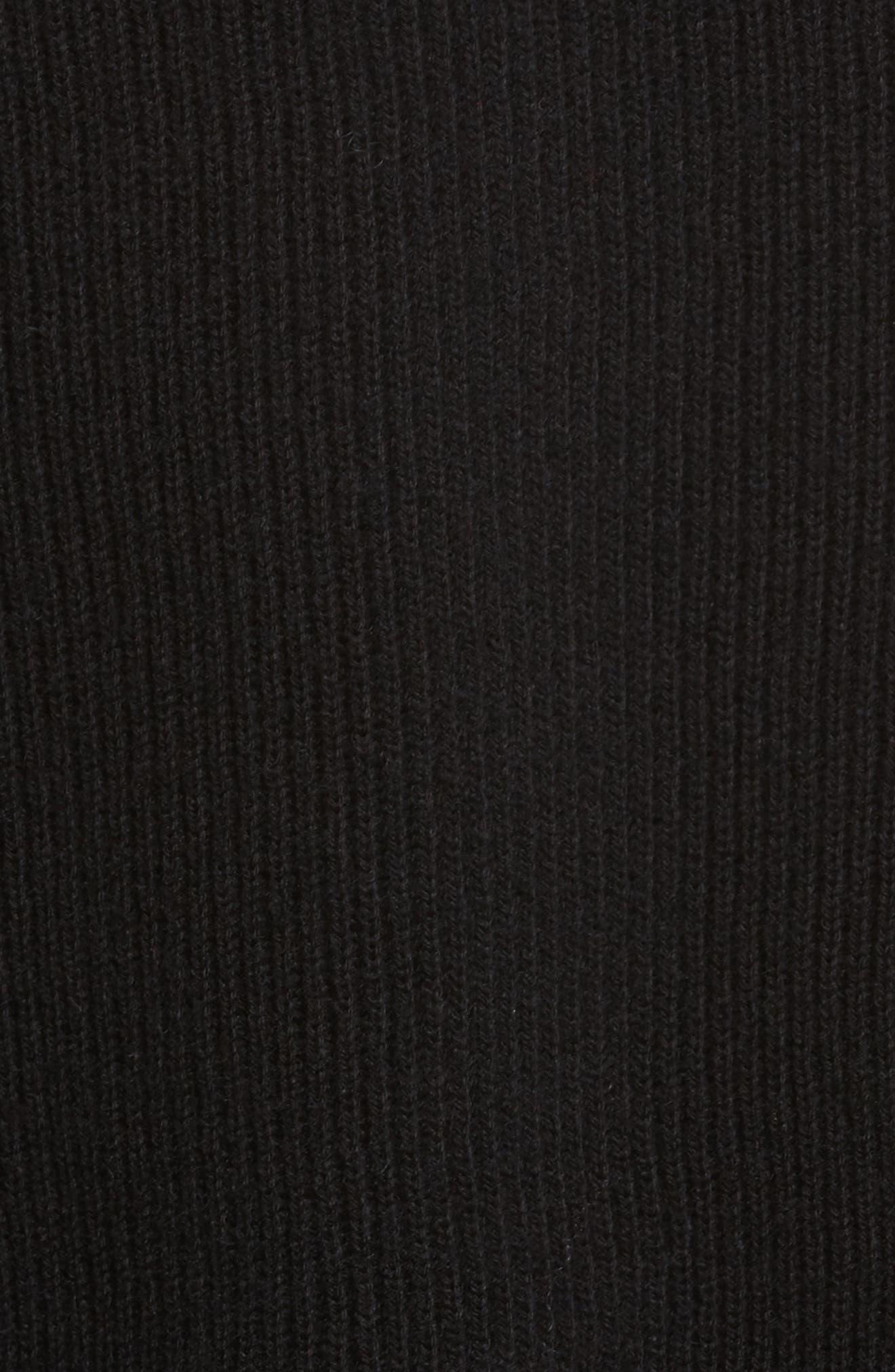 Distressed V-Neck Sweater,                             Alternate thumbnail 5, color,                             Black