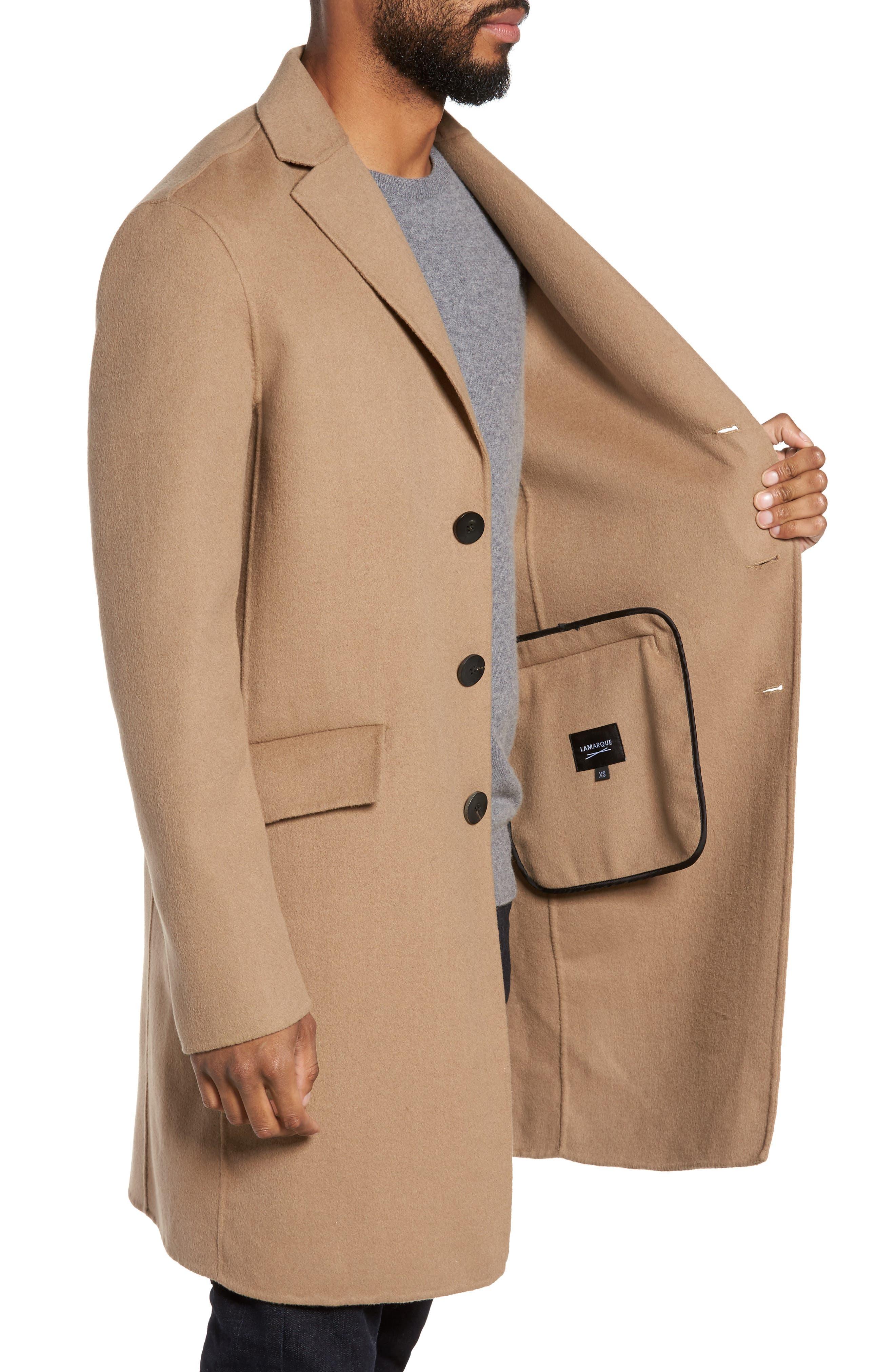 Wool Blend Topcoat,                             Alternate thumbnail 3, color,                             Camel