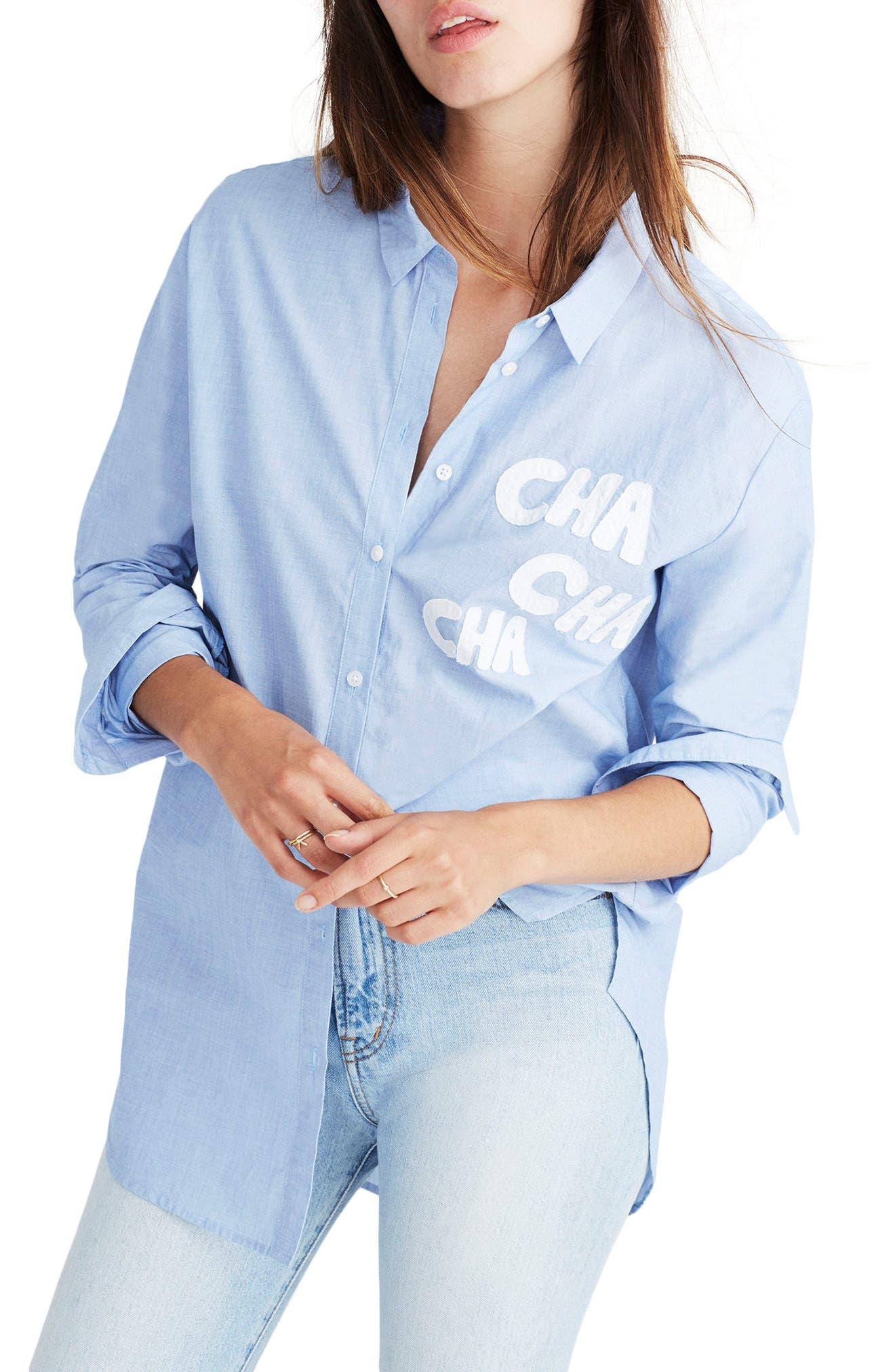 Cha Cha Cha Ex-Boyfriend Shirt,                         Main,                         color, Soft Twilight