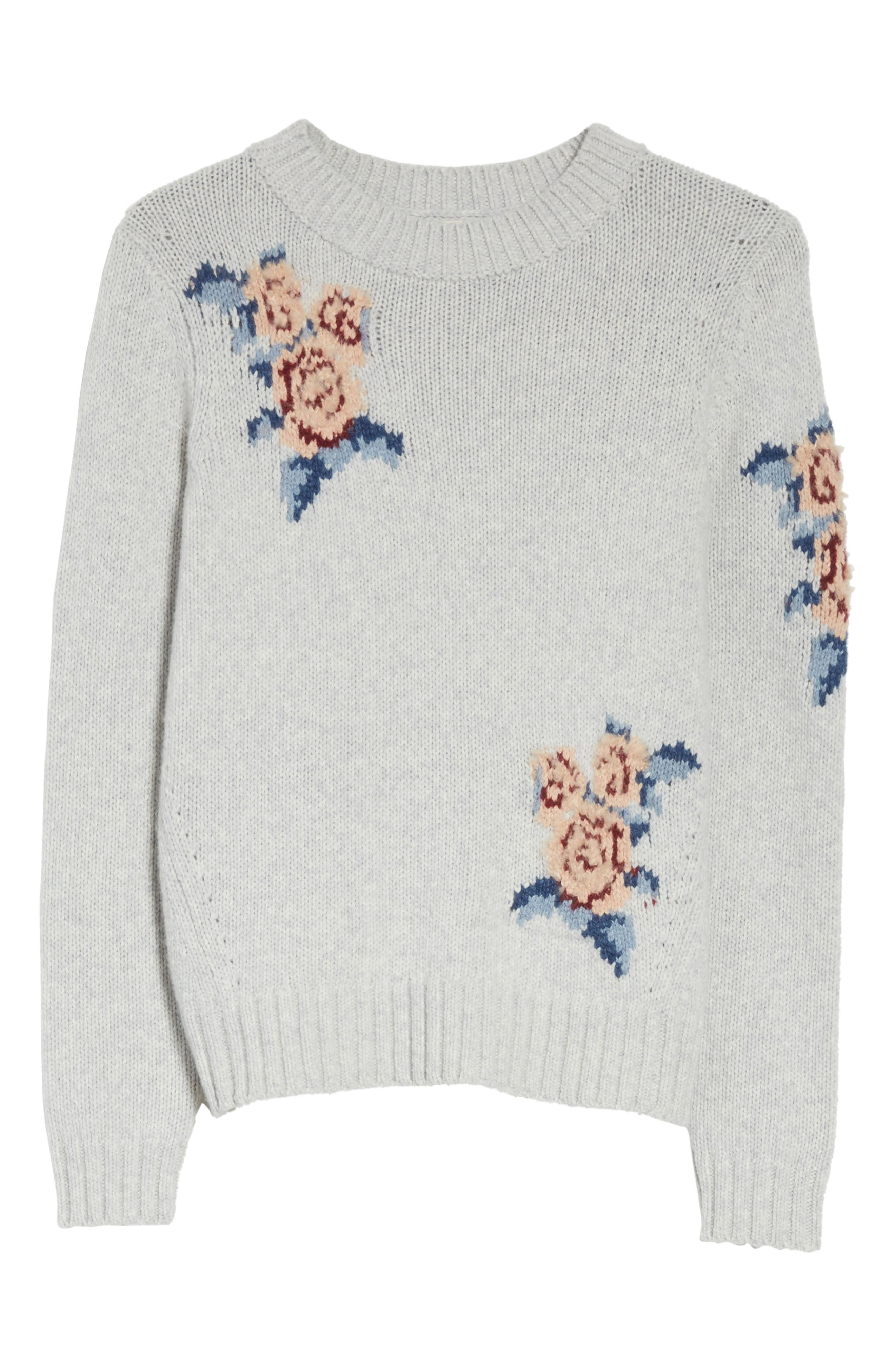 Floral Intarsia Pullover,                             Alternate thumbnail 6, color,                             Light Heather Grey Combo