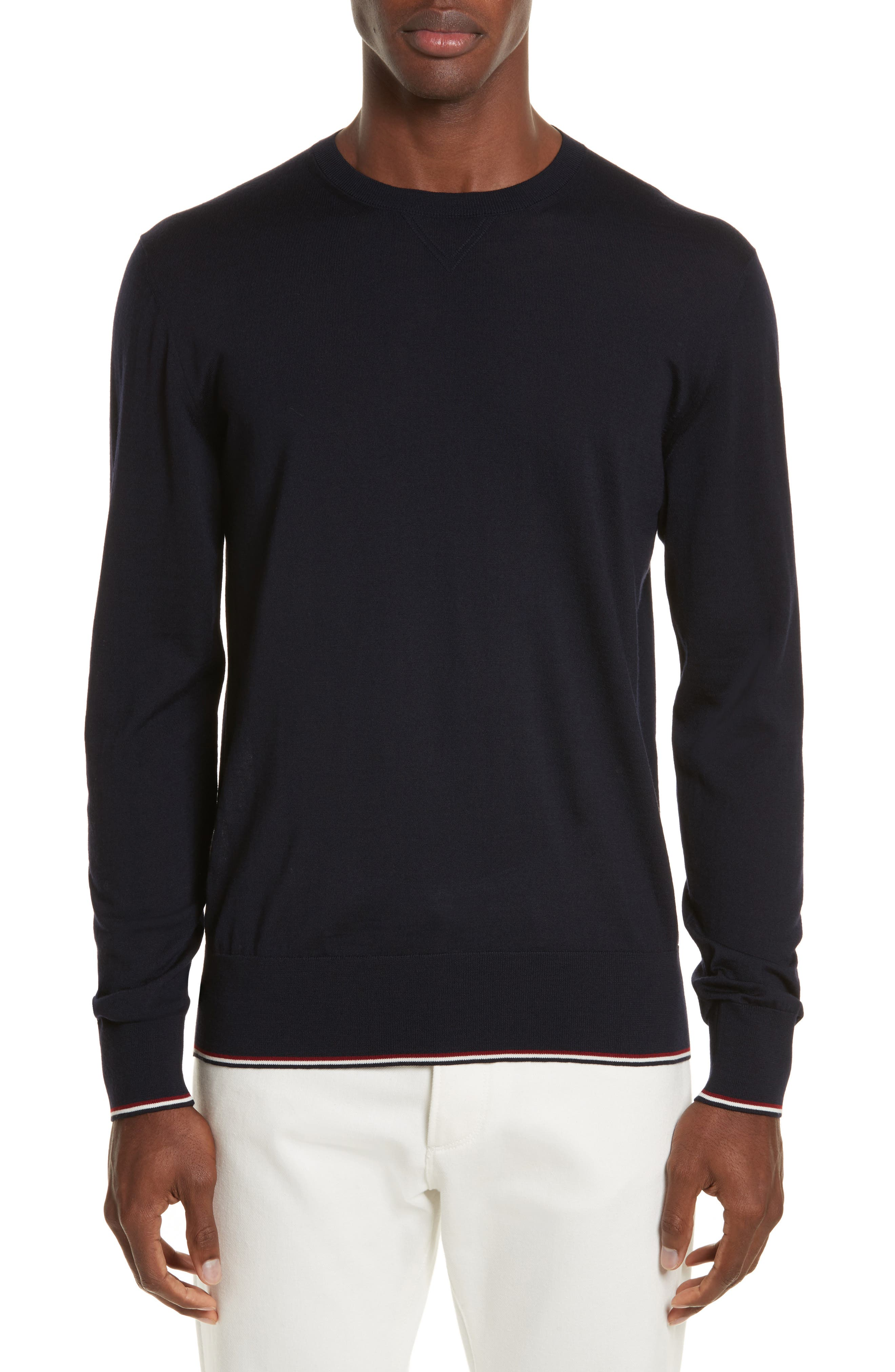 Virgin Wool Crewneck Sweater,                         Main,                         color, Navy